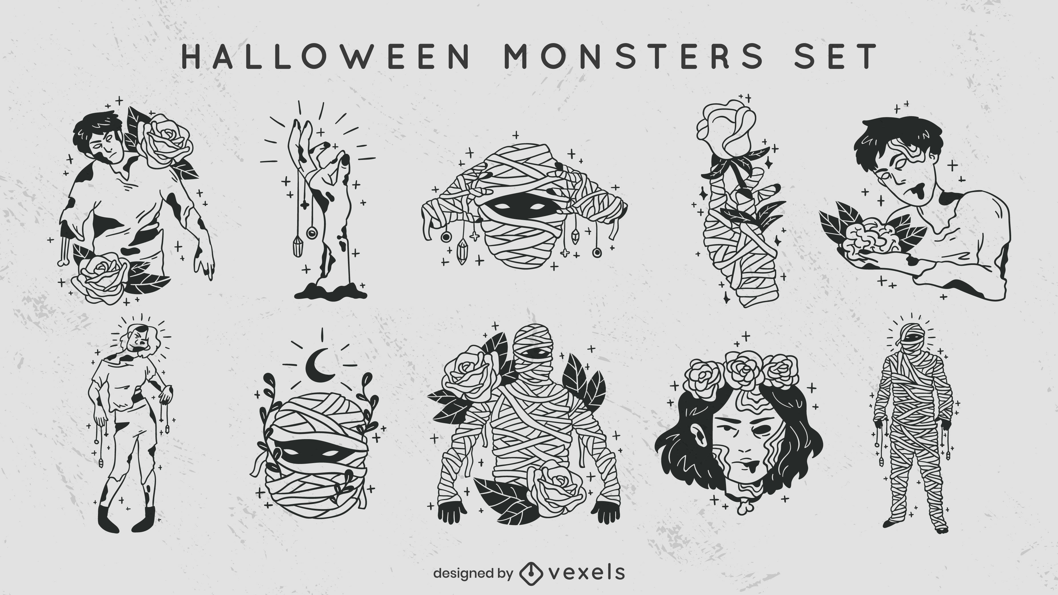 Conjunto de derrames preenchidos com monstros de Halloween