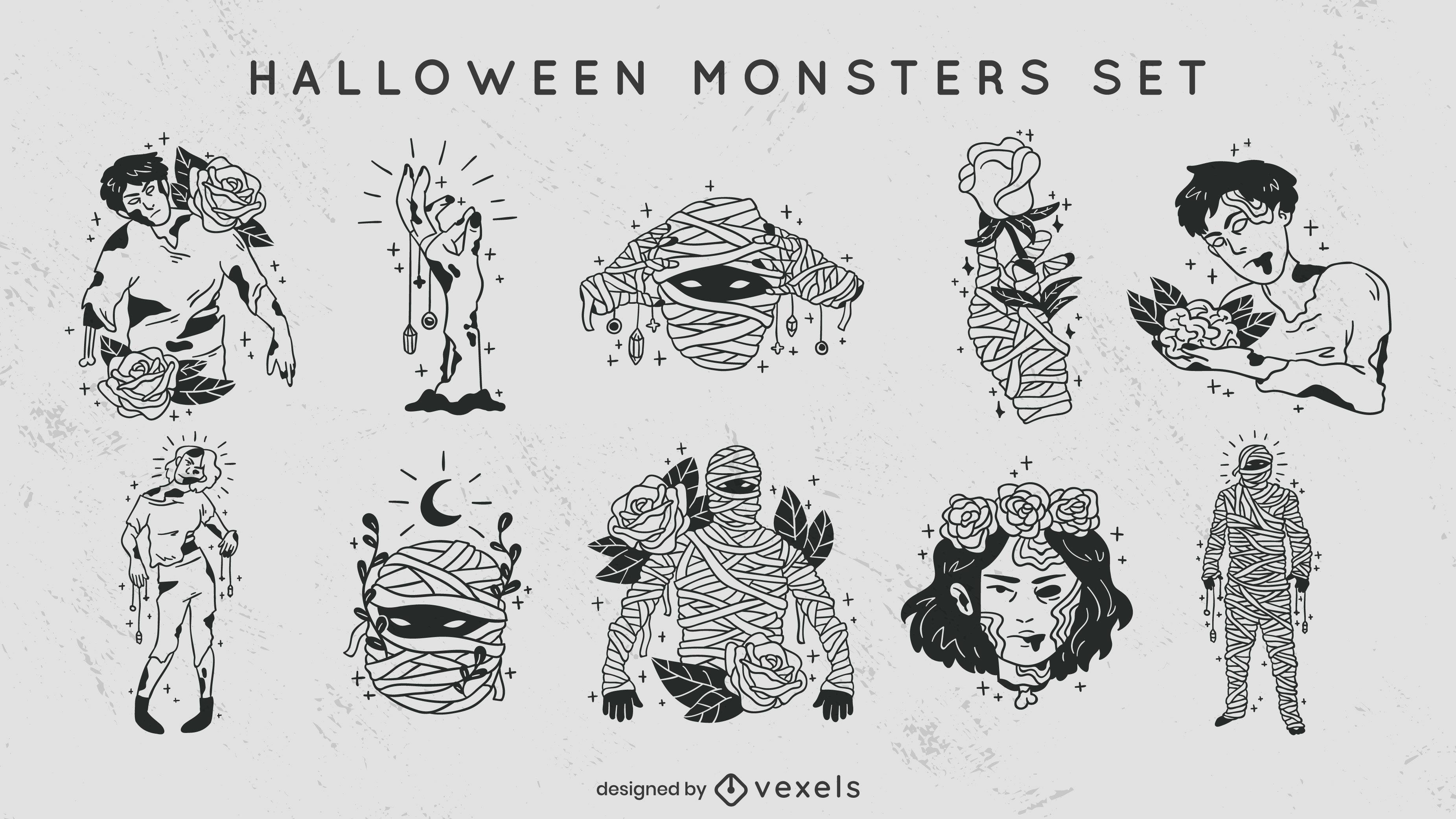 Conjunto de trazos llenos de monstruos de Halloween