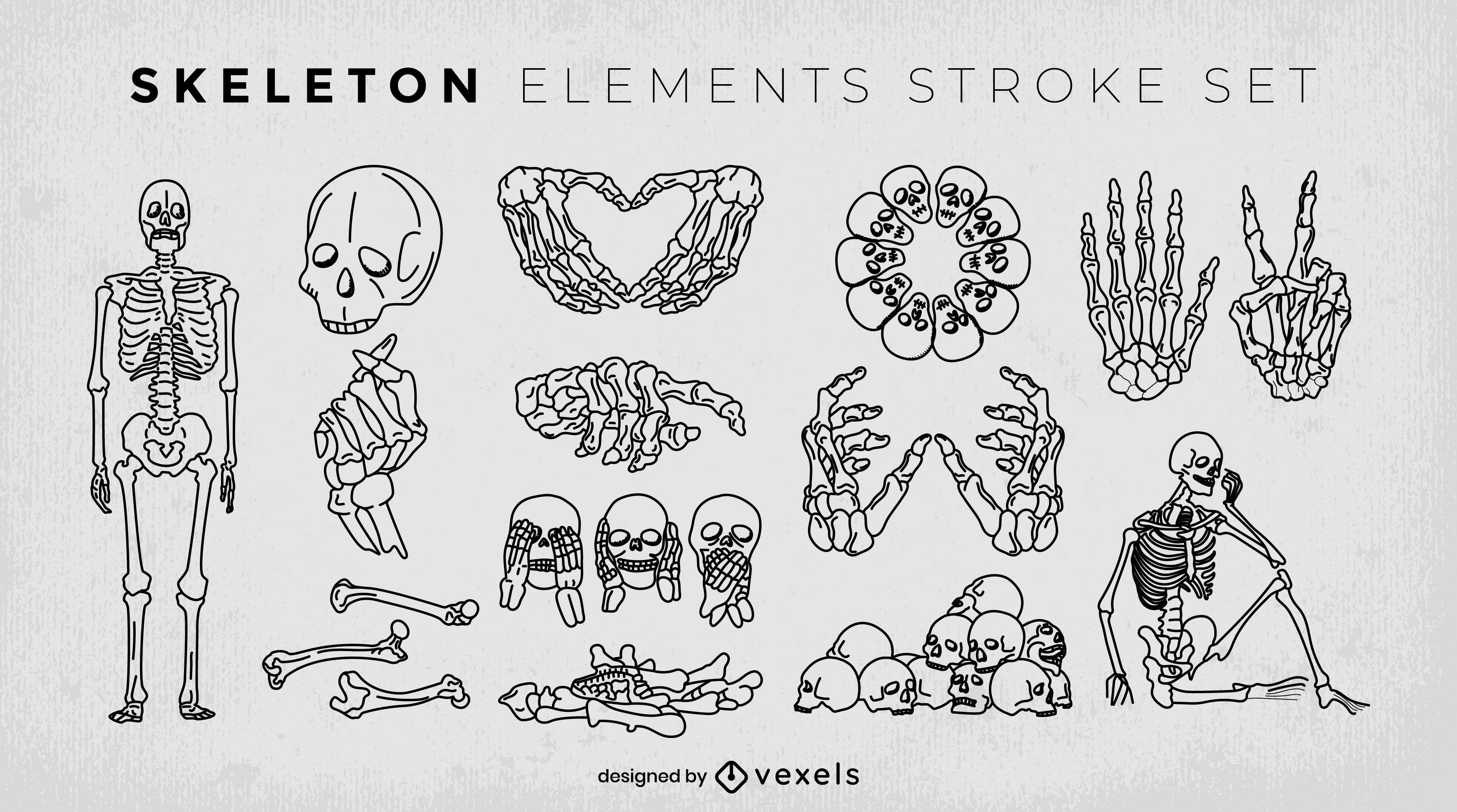 Skull and skeletons monsters stroke set