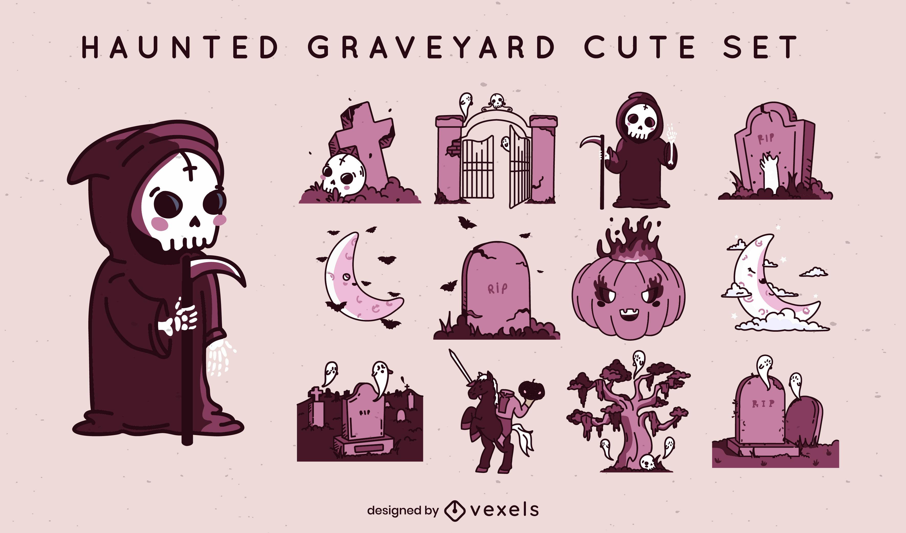 Conjunto fofo de elementos do cemitério de Halloween