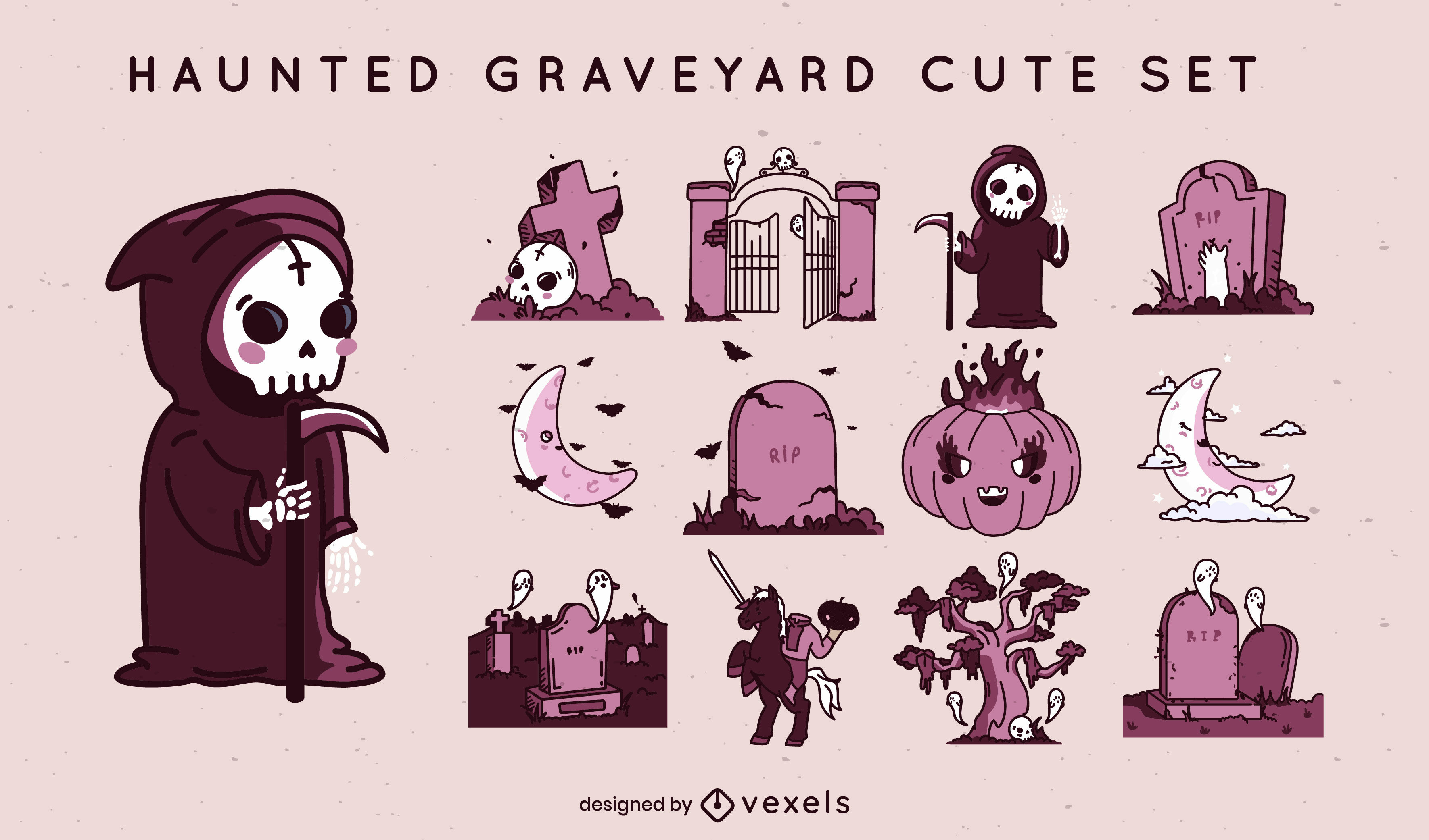 Conjunto lindo de elementos de cementerio de halloween