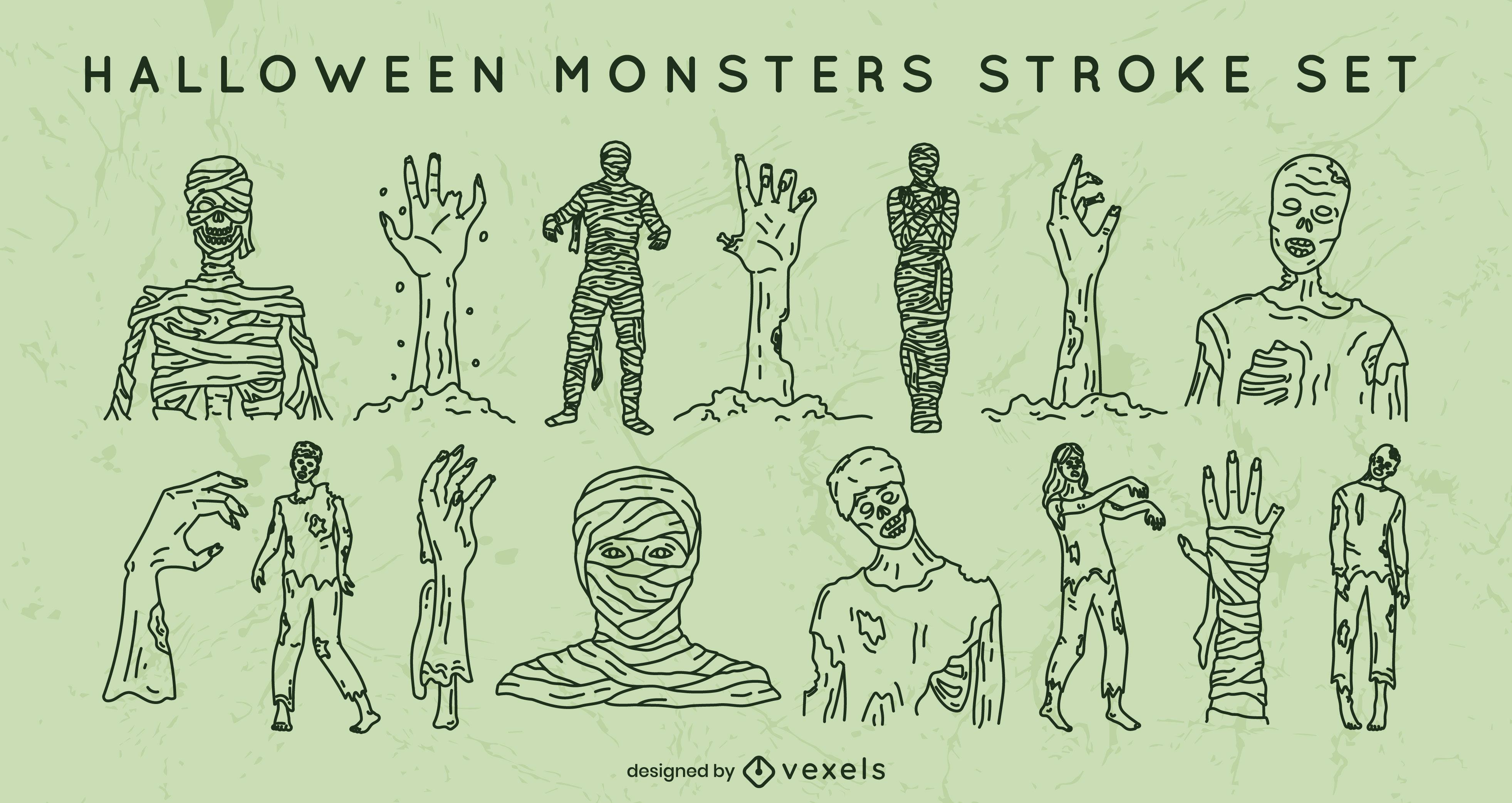 Conjunto de trazos de momias de halloween