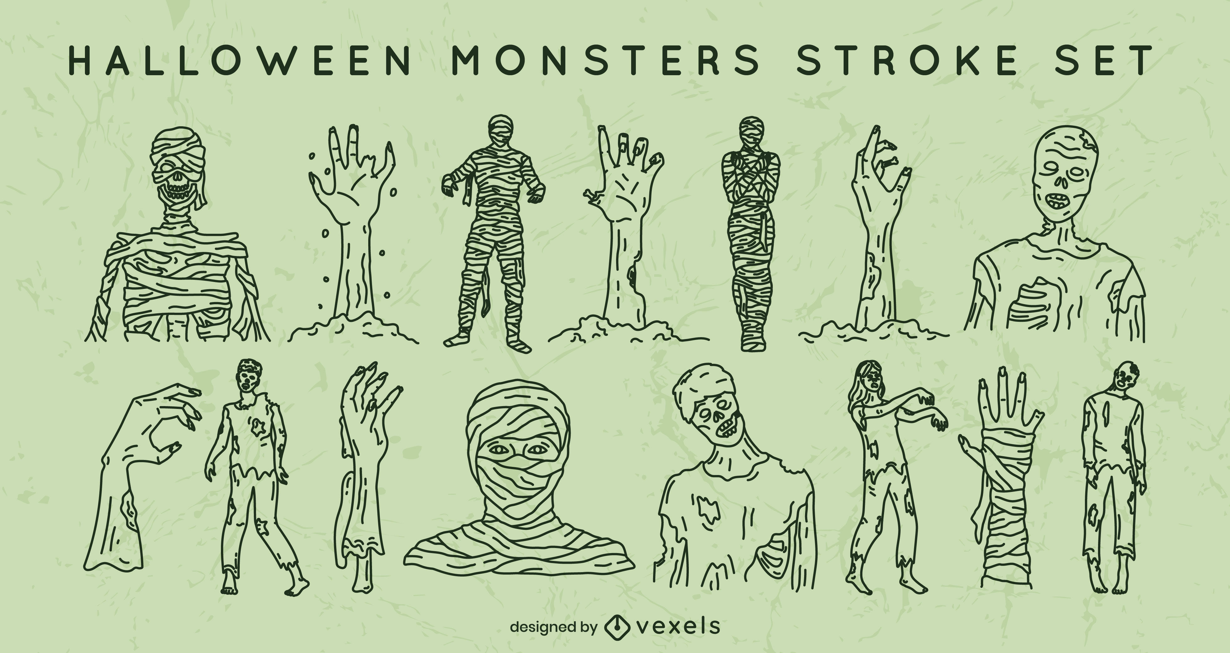 Halloween mummies stroke set