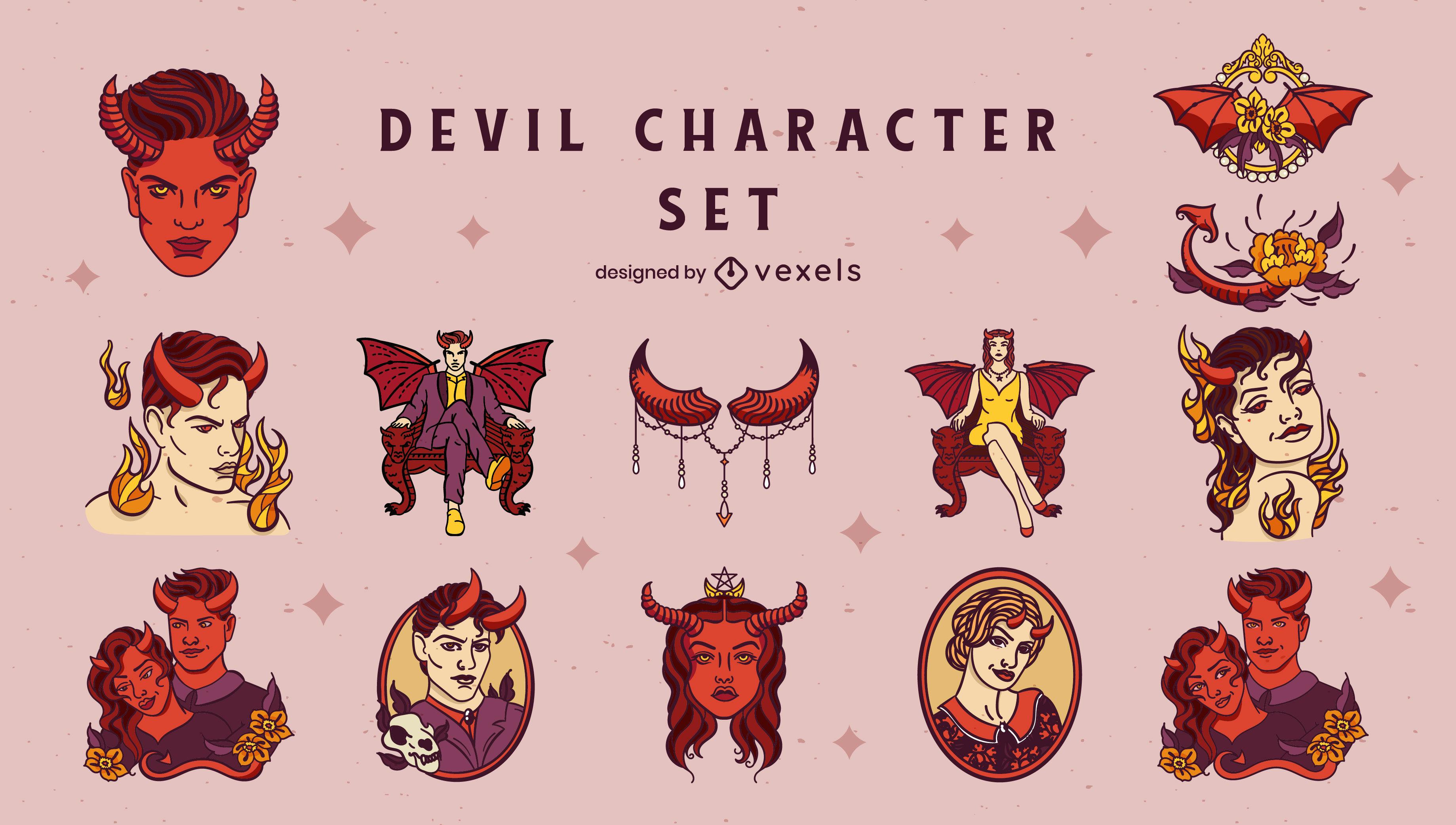 Conjunto de caracteres de trazo de color diablo