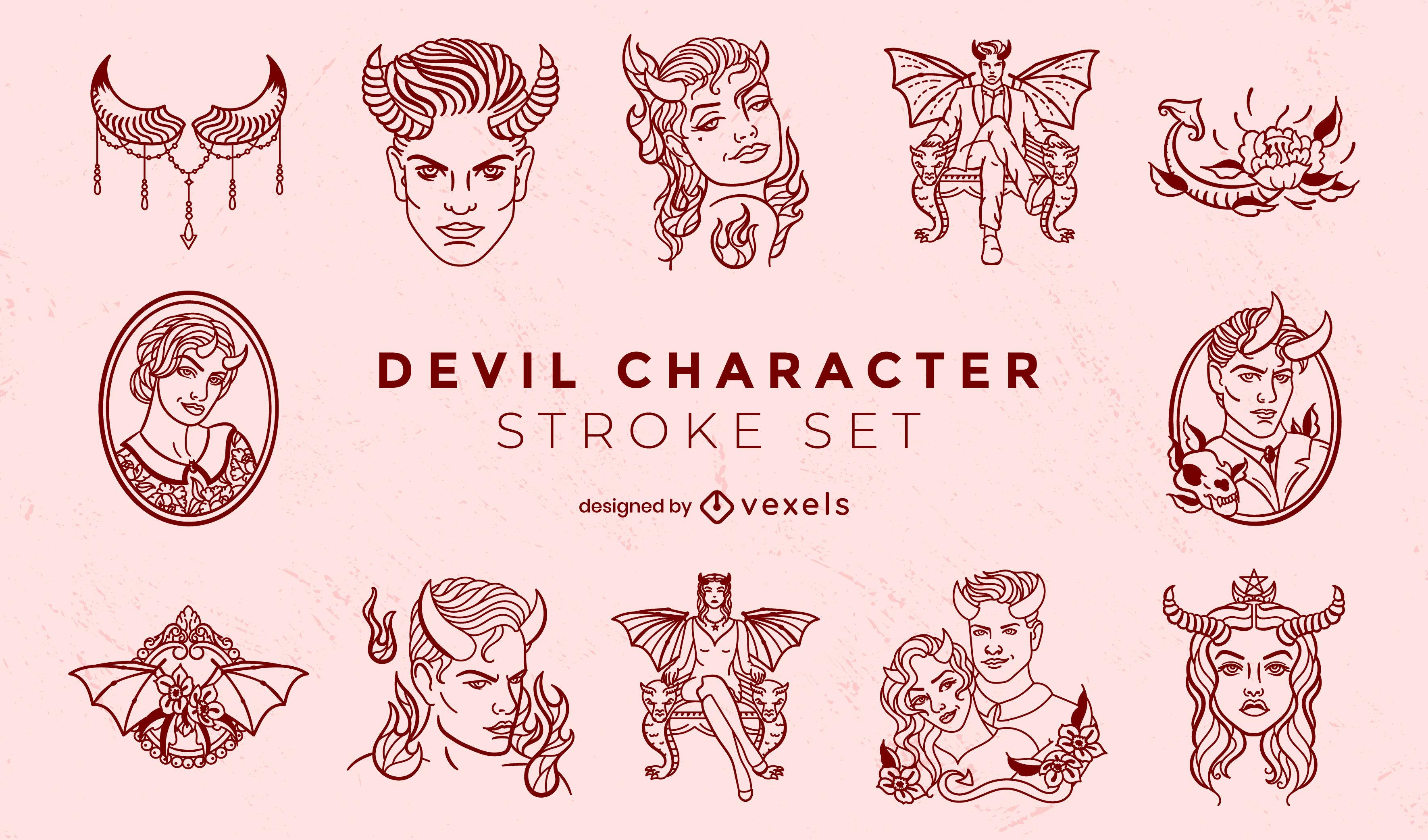 Conjunto de caracteres de trazo de diablo