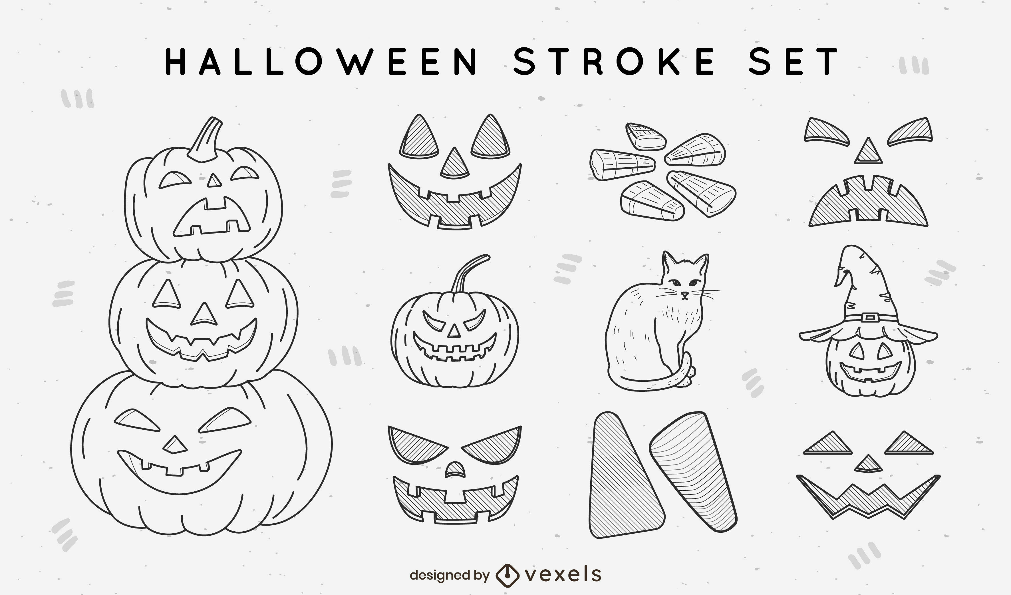 Halloween elements and items stroke collection
