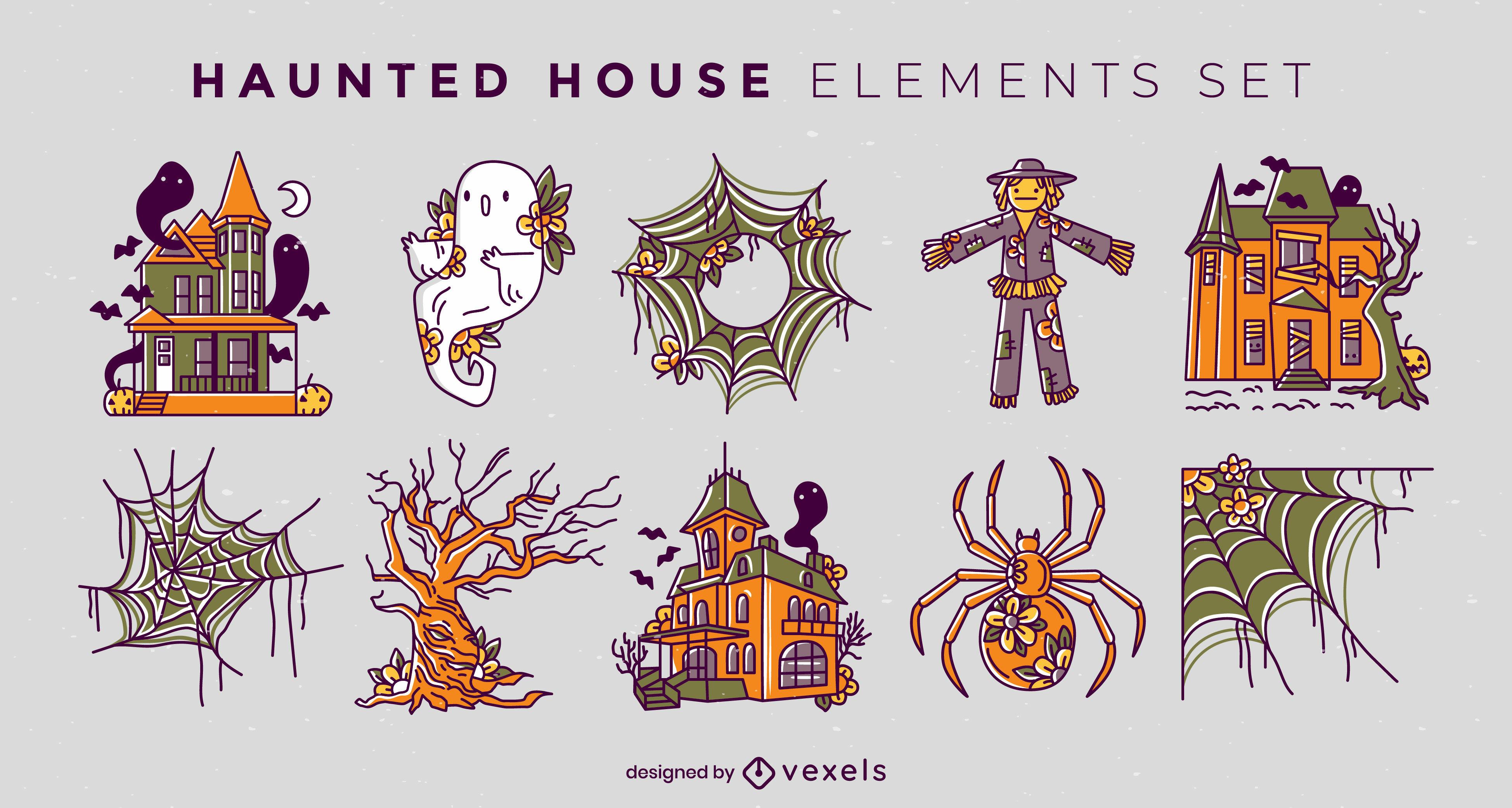 Conjunto de trazos de color de casa embrujada