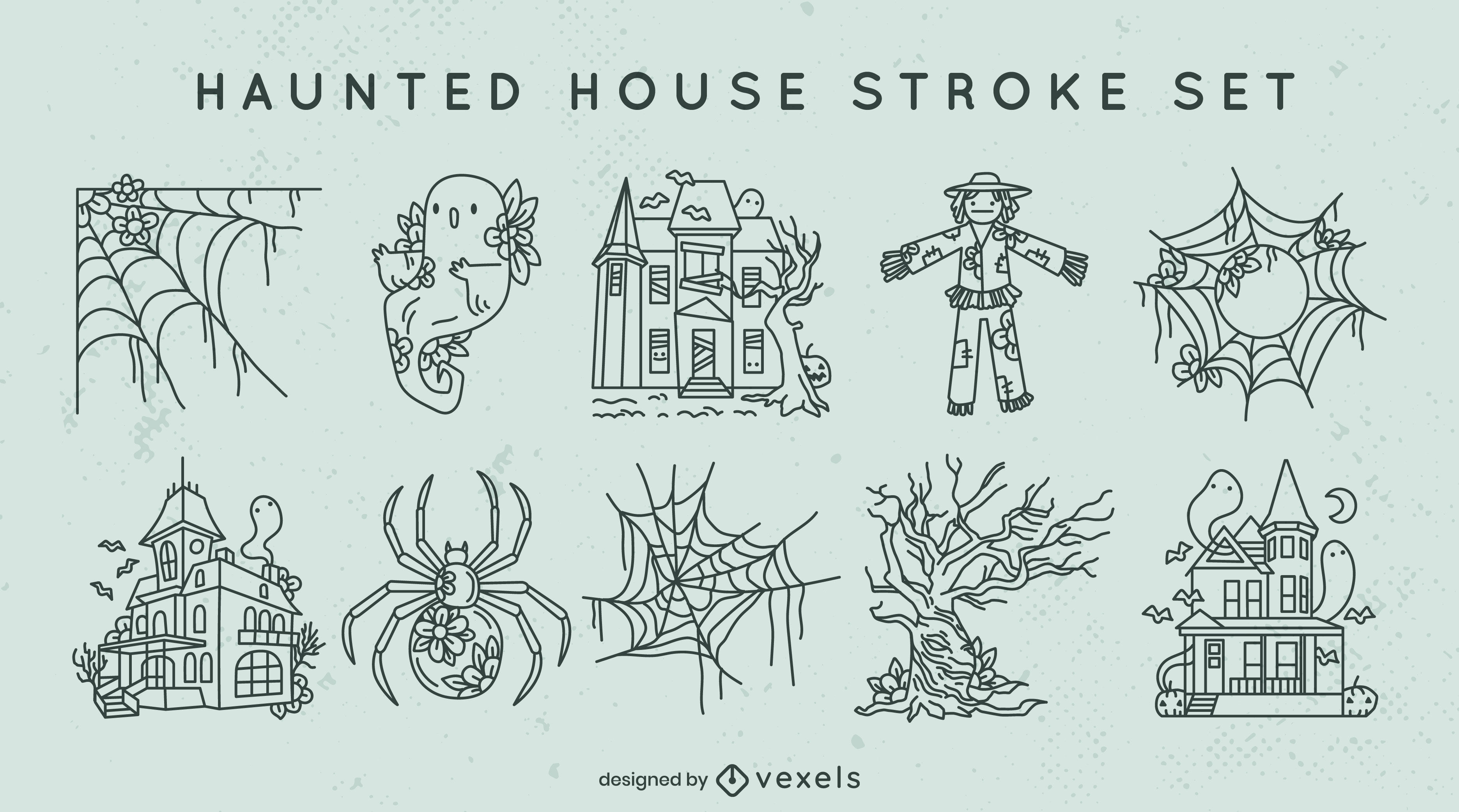 Conjunto de trazos de casa embrujada