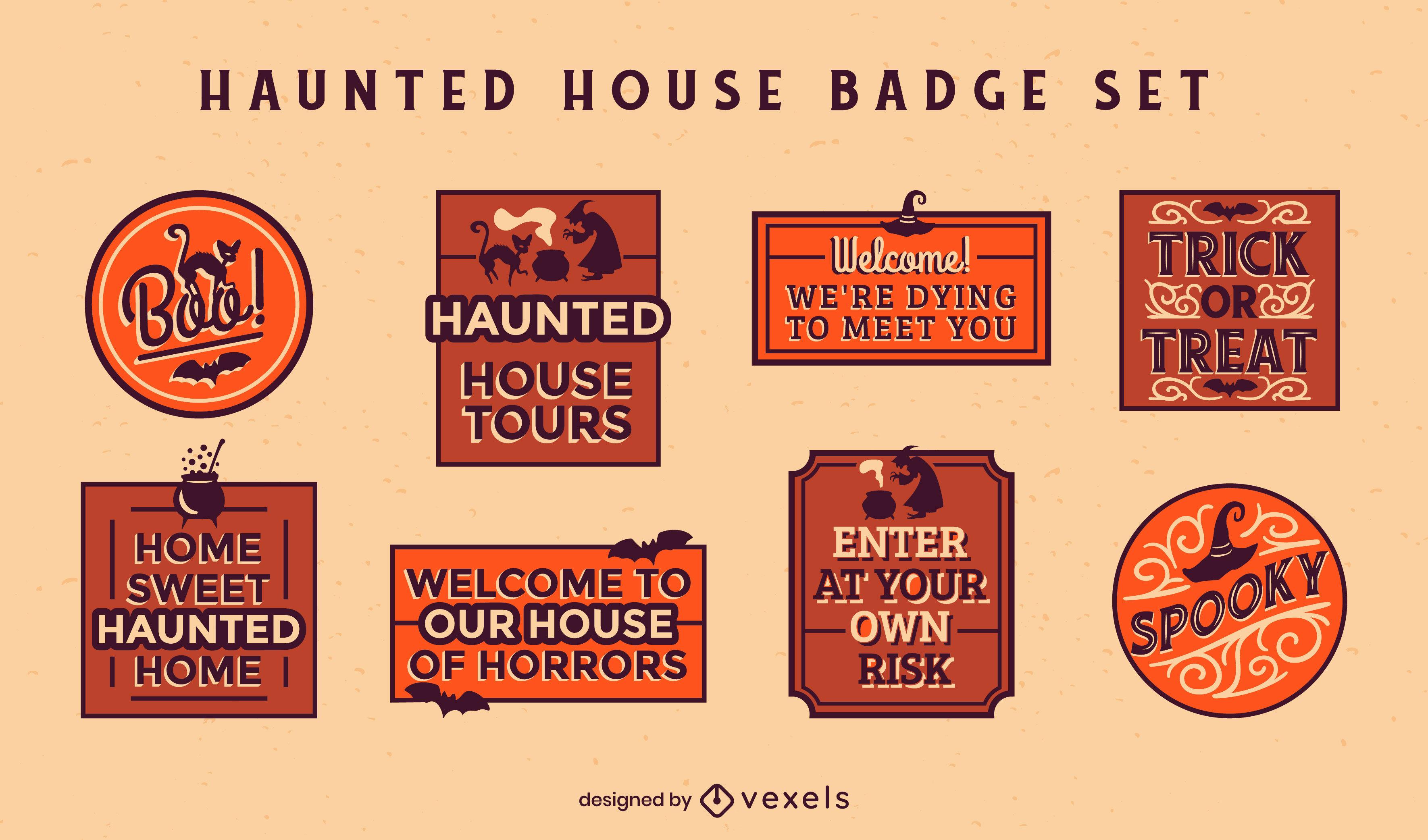 Conjunto de insignias de citas de casa embrujada
