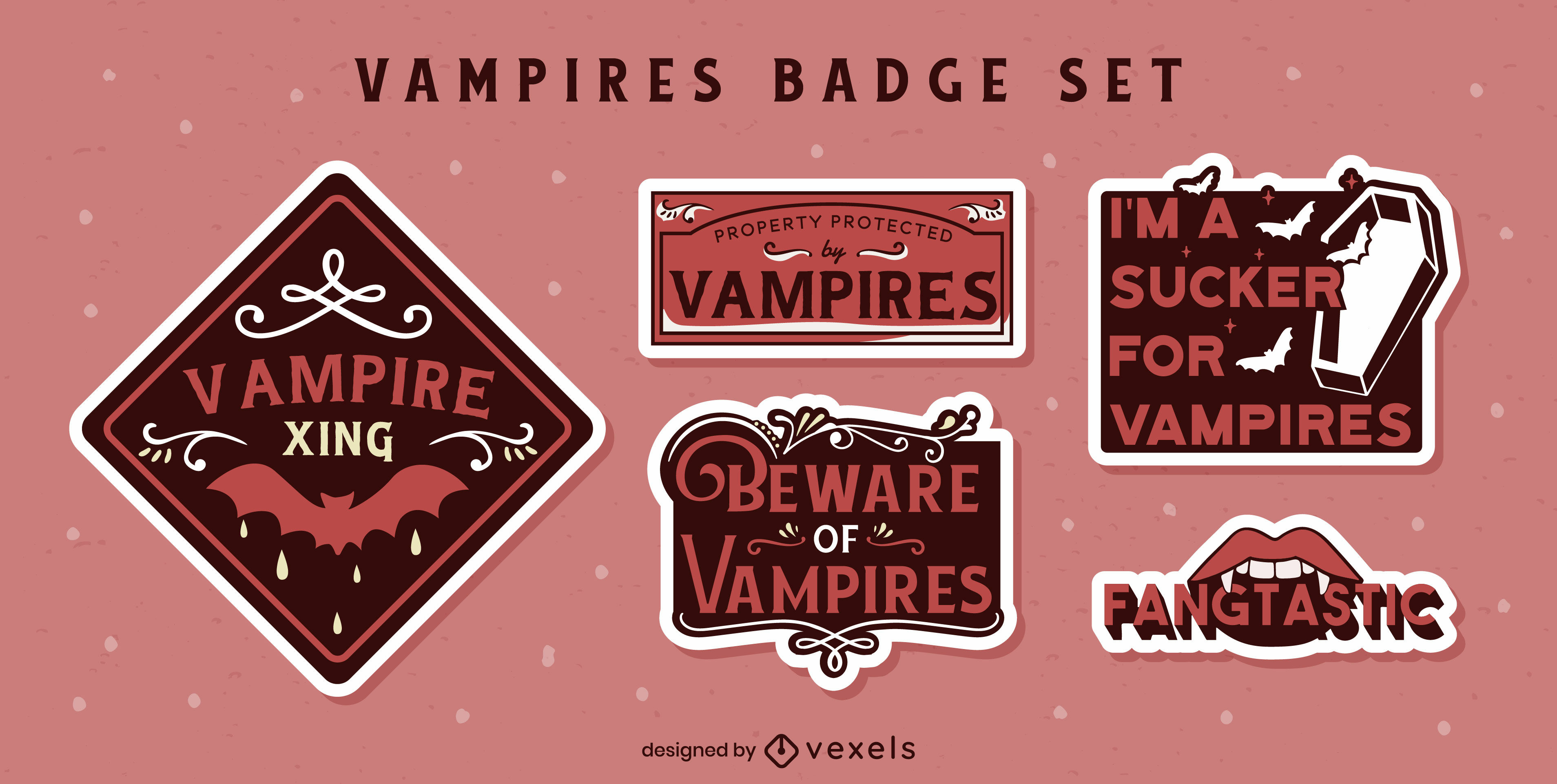 Conjunto de pegatinas de citas de vampiros