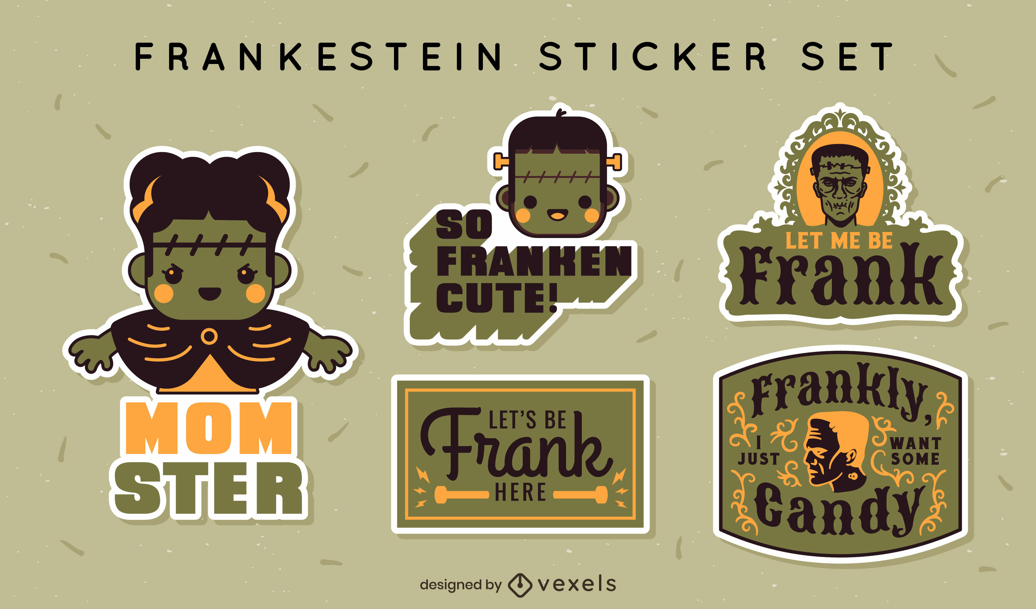 Conjunto de adesivos fofos de Frankenstein