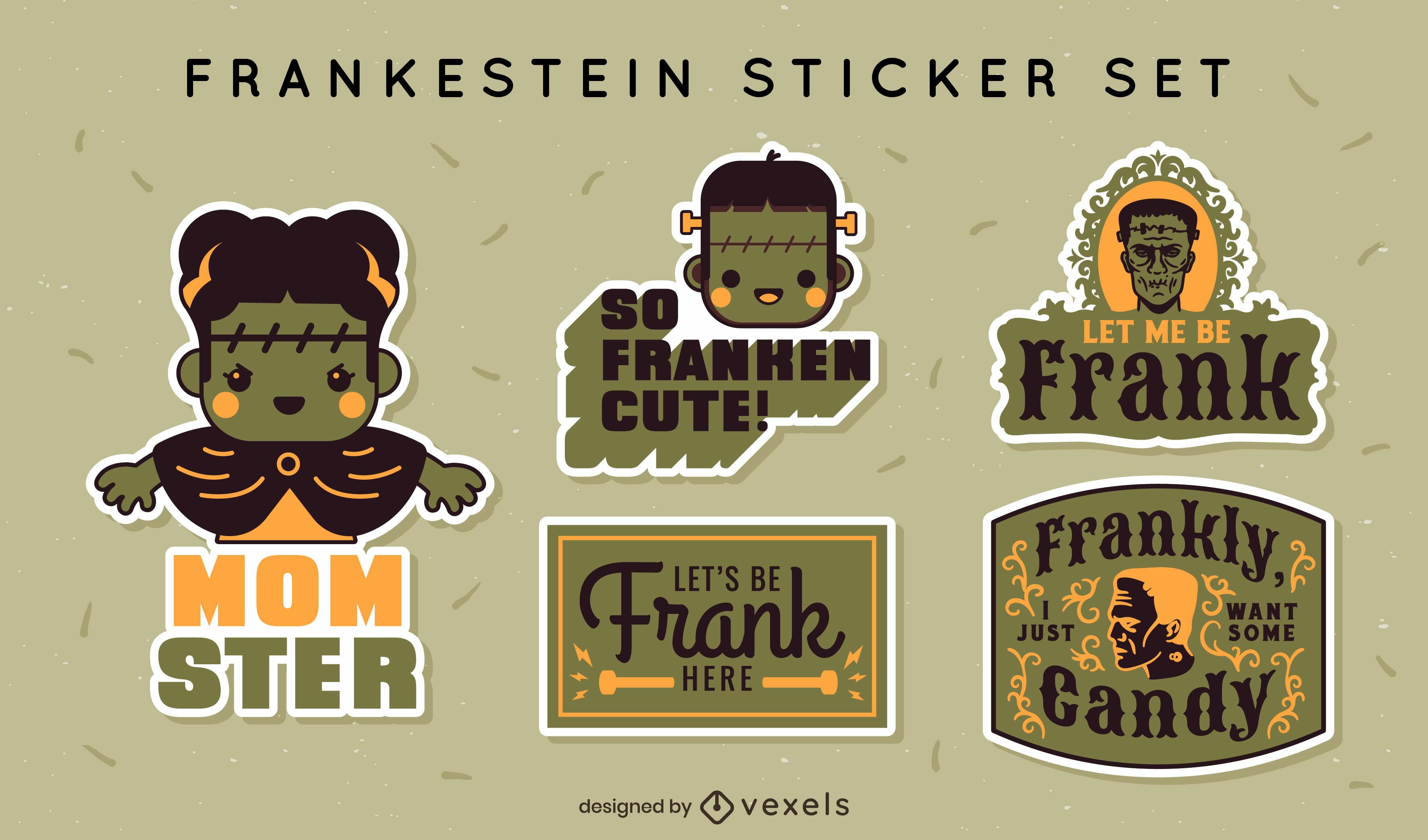 Lindo set de pegatinas de Frankenstein