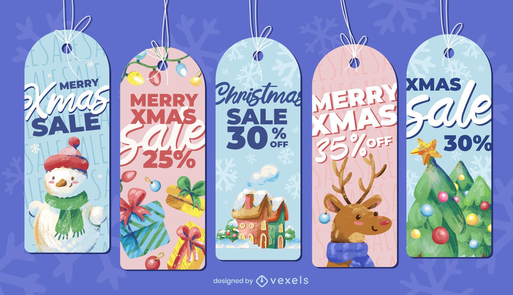Conjunto de etiquetas de temporada de vacaciones de feliz navidad