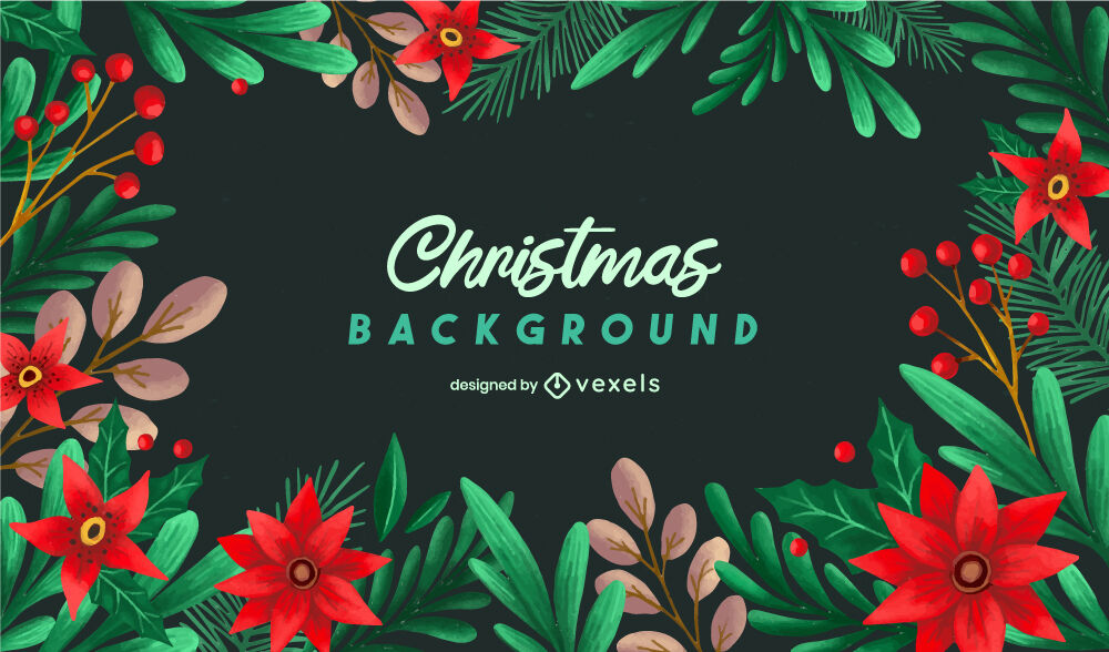 Flowers and leaves christmas background design