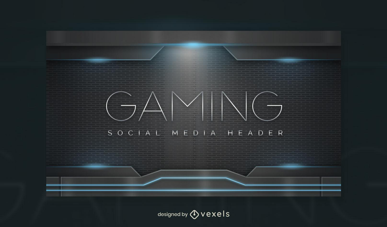 Plantilla de portada de facebook de juegos de futuro de luces realistas