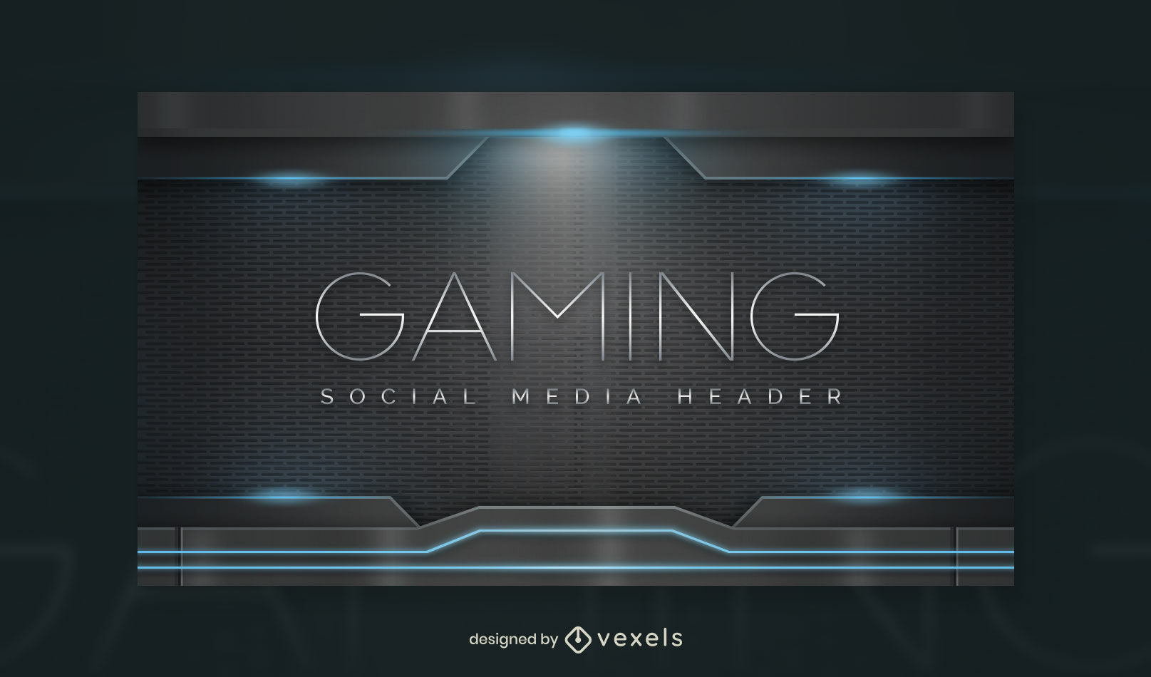 Realistic lights future gaming facebook cover template