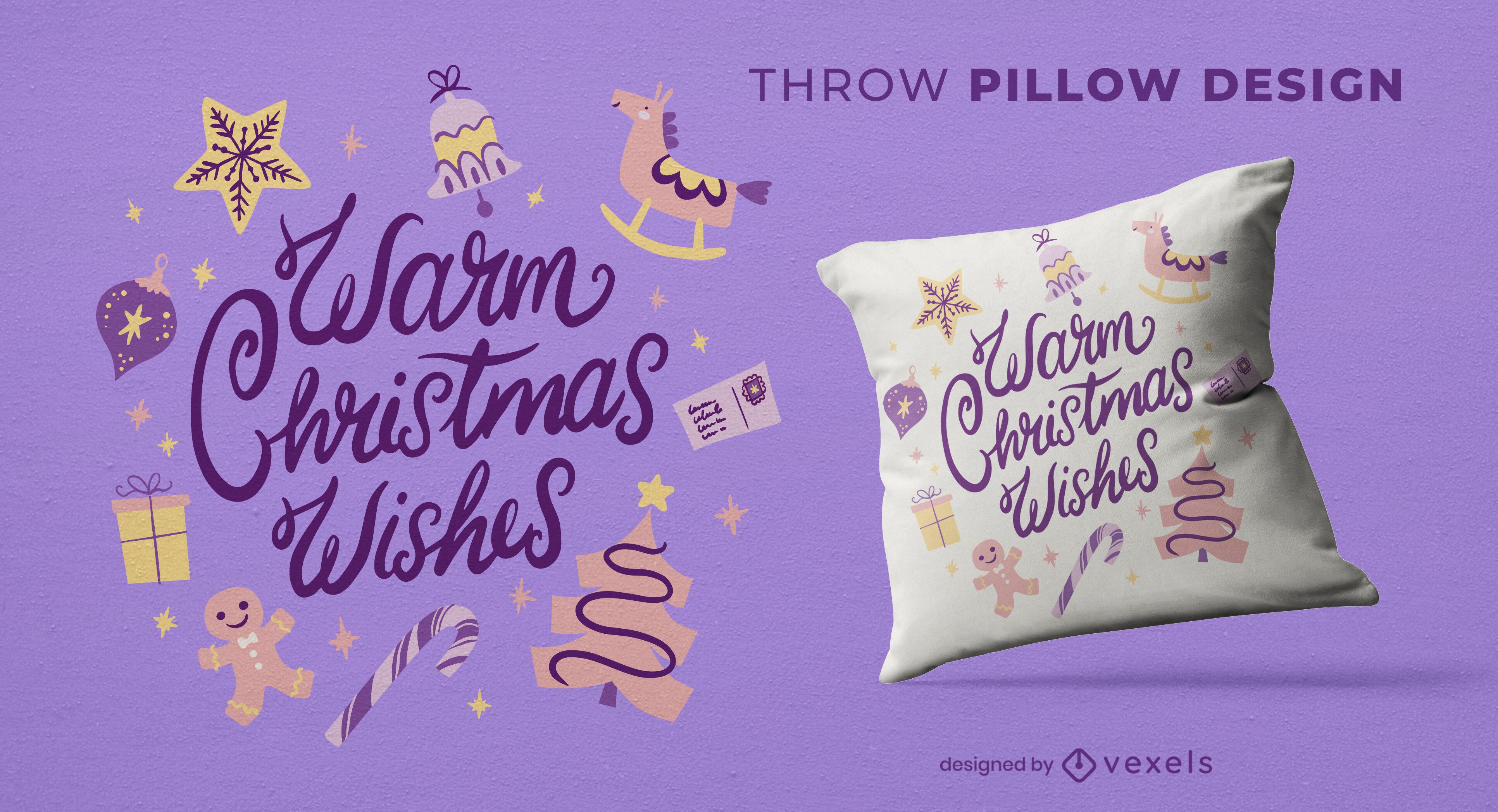 Christmas holiday gifts throw pillow design