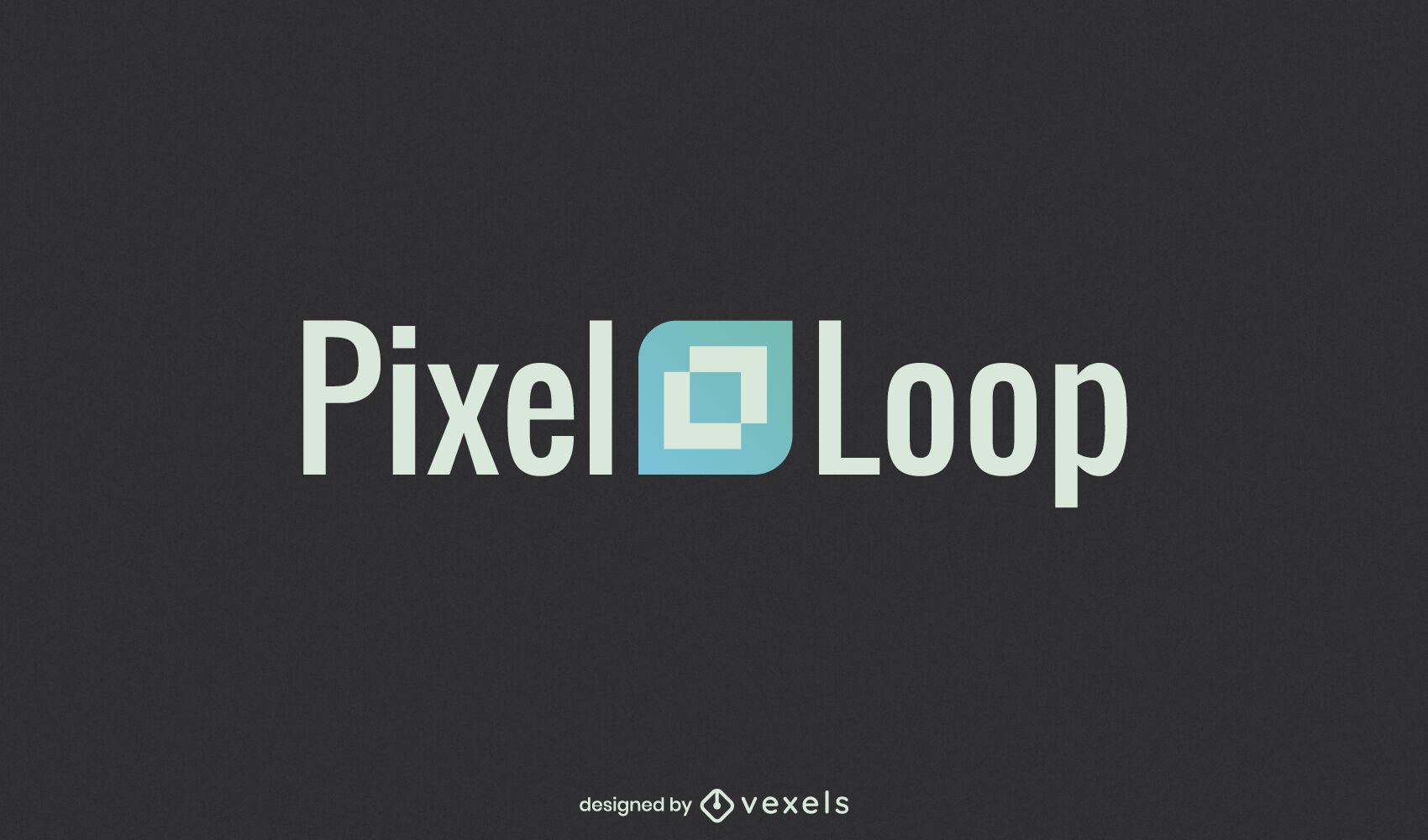 Plantilla de logotipo de forma de rectángulo de píxeles