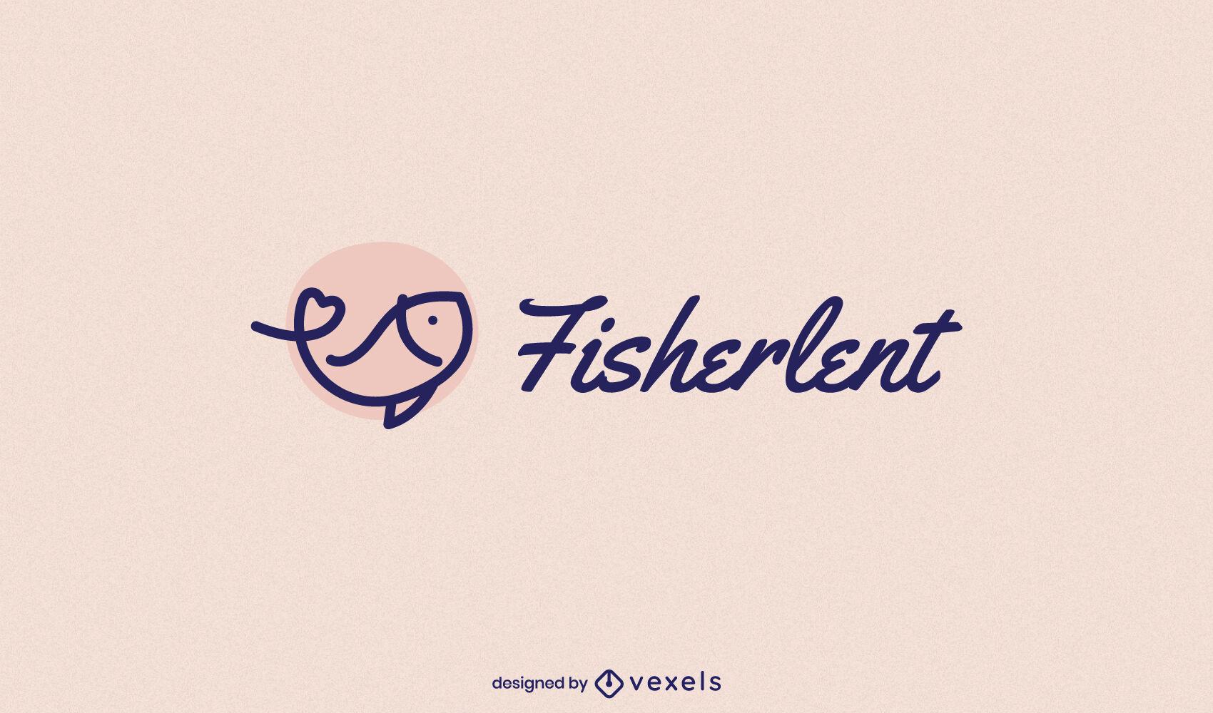 Plantilla de logotipo de trazo de natación de peces