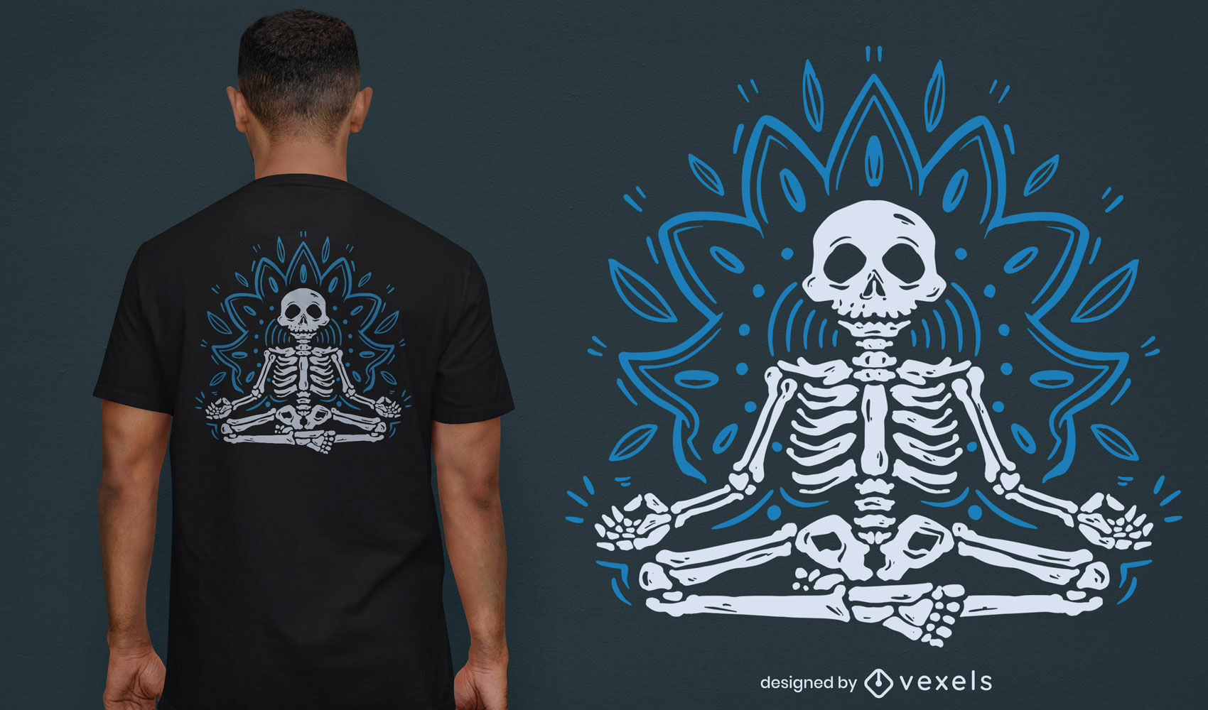 Diseño de camiseta de mandala esqueleto meditando fresco
