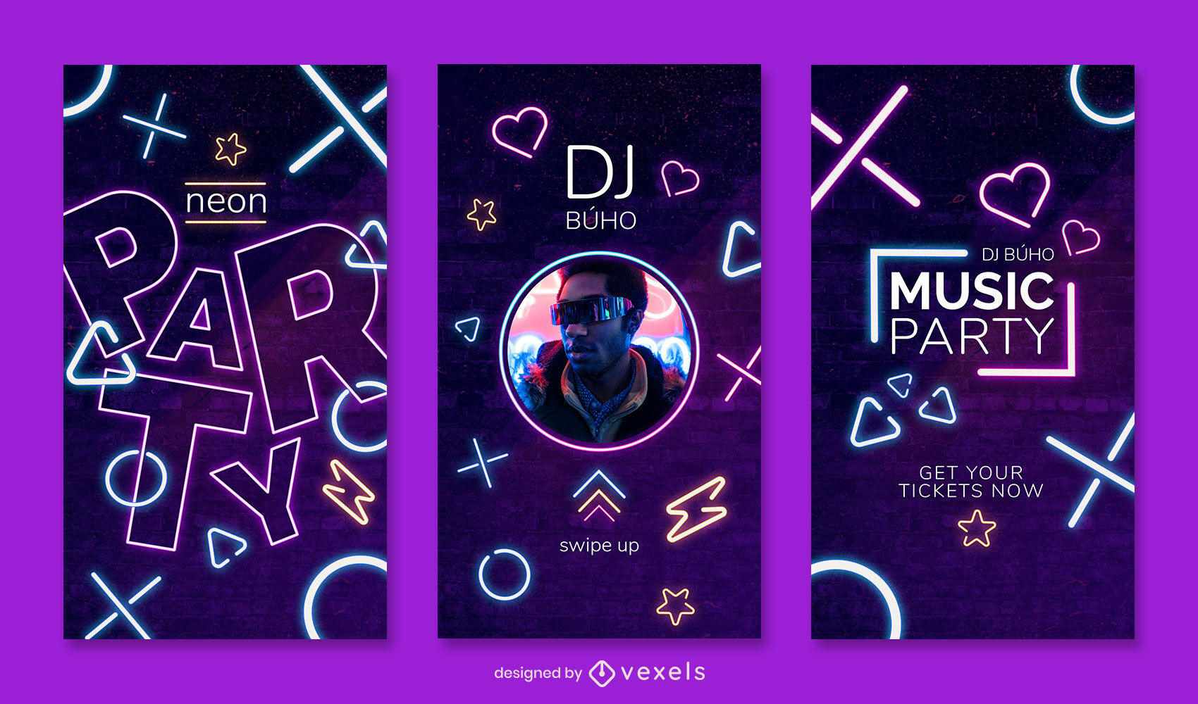Party neon purple instagram story template