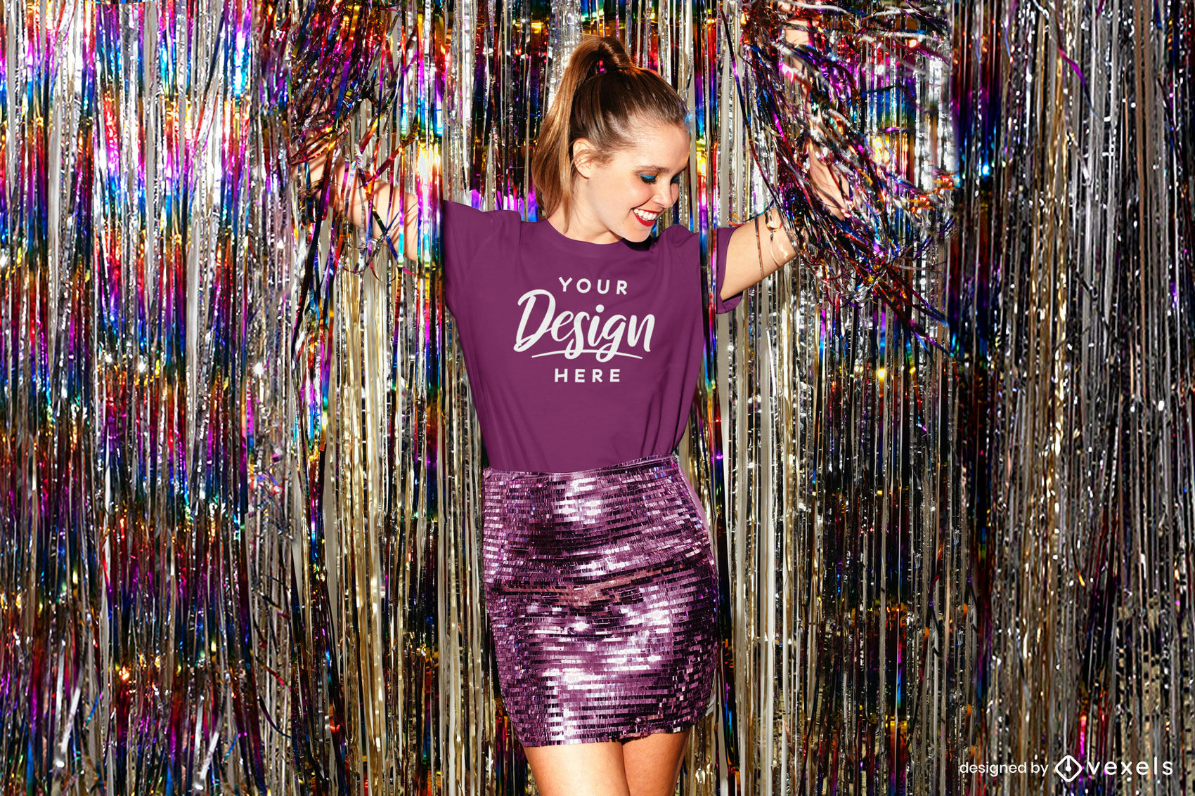 Girl purple t-shirt mockup in party dance club