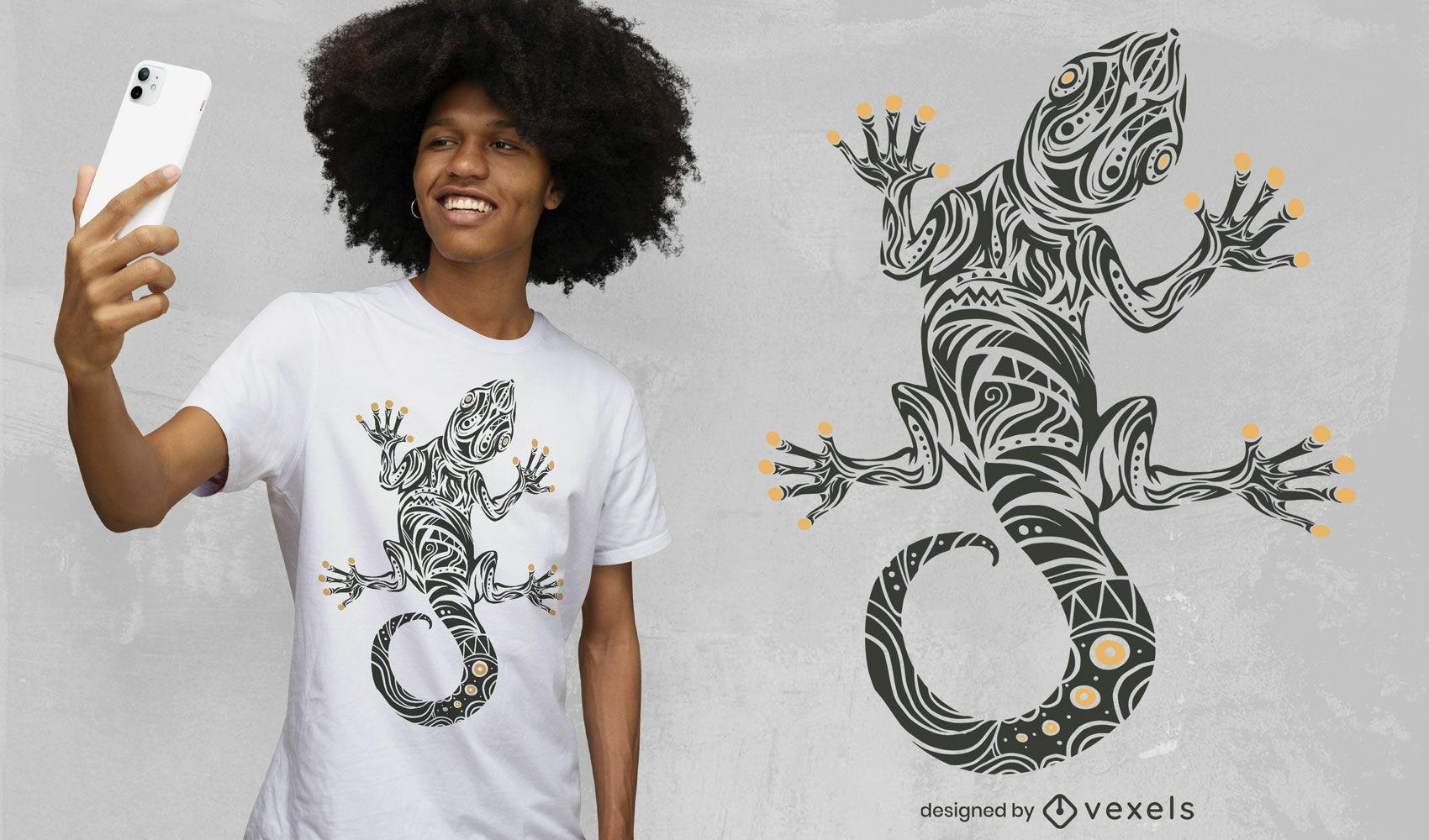 Diseño de camiseta de arte tribal animal gecko