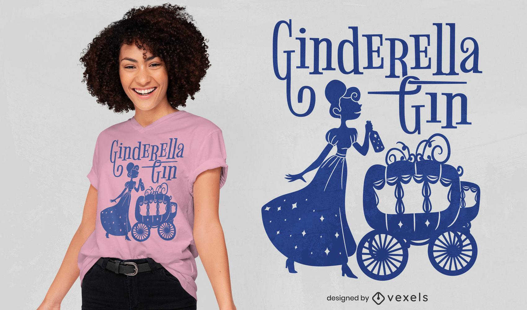 Design de camiseta paródia da Cinderela bêbada