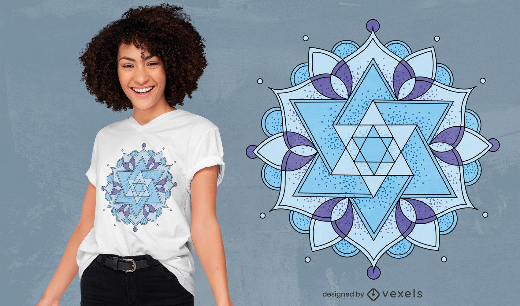 Diseño de camiseta de tatuaje de flor geométrica.