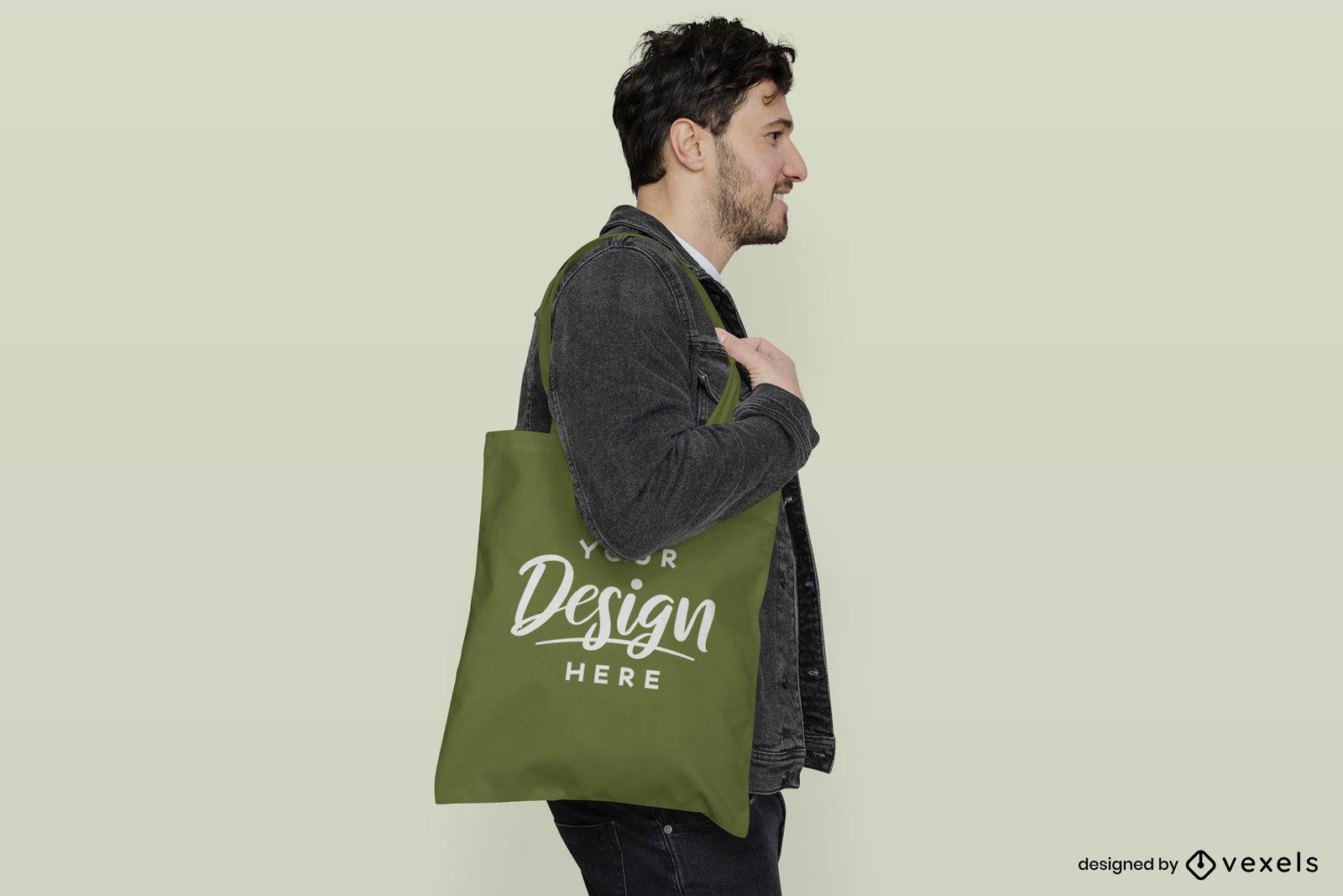 Homem de sacola verde em maquete de fundo plano
