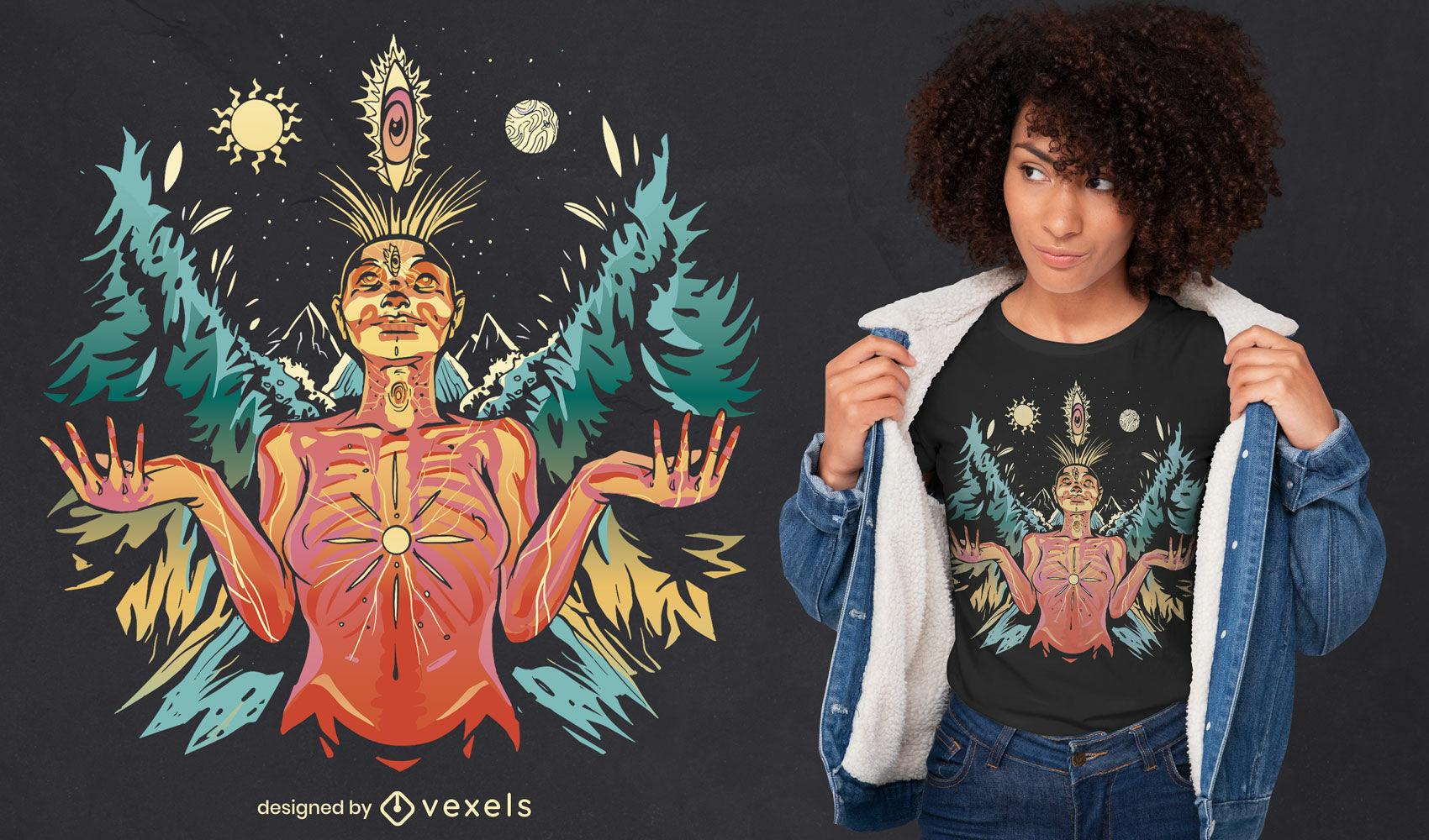 Diseño de camiseta de ilustración de mujer espiritual