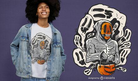 Diseño de camiseta de esqueleto y fantasmas de Halloween.
