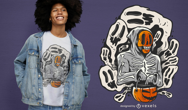 Esqueleto de Halloween e design de camisetas fantasmas