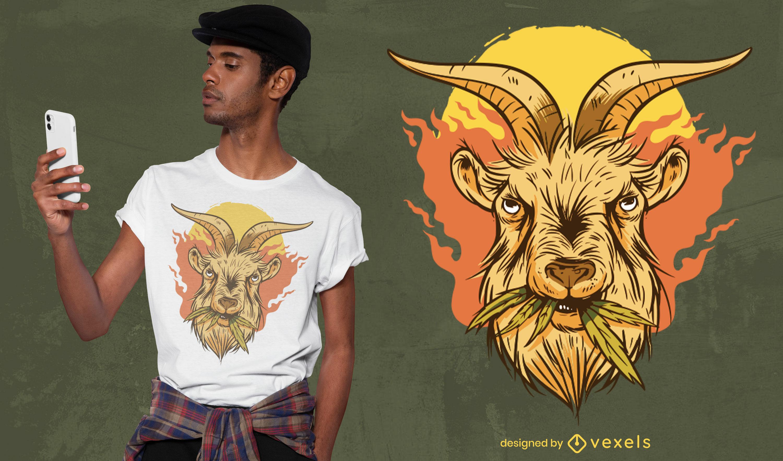 Design fixe de t-shirt de cabra com erva daninha