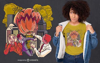 Diseño de camiseta de monstruo de calabaza genial