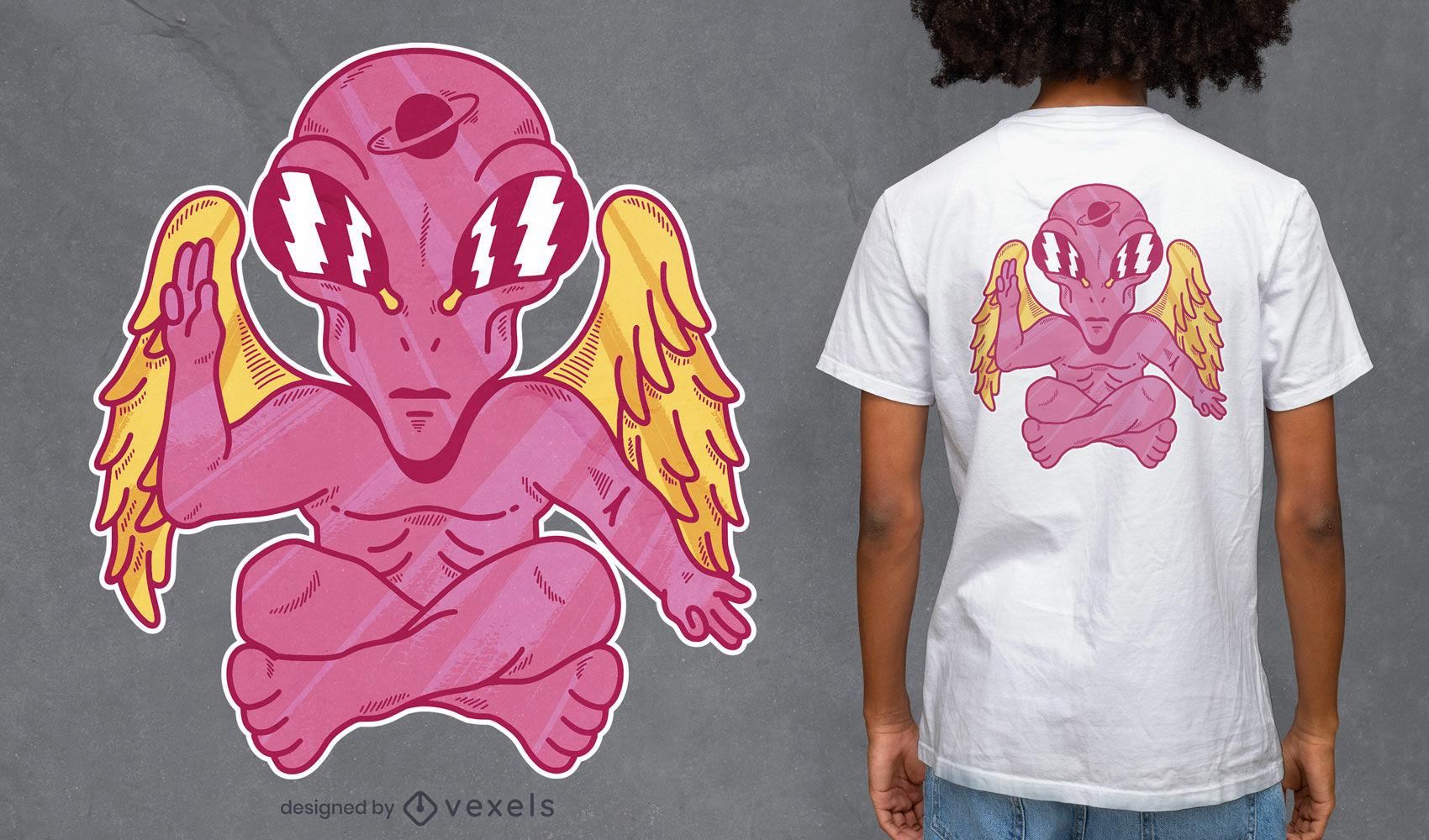 Design de camiseta alienígena rosa alada