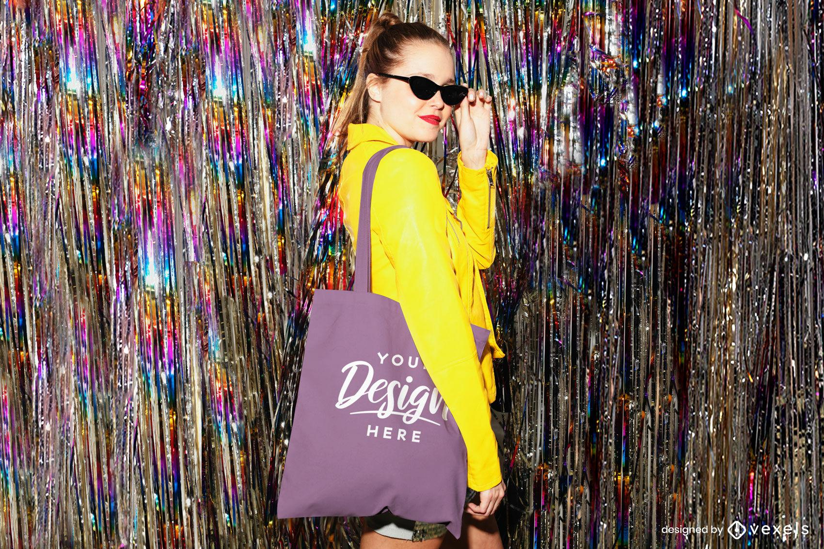 Purple tote bag mockup girl in night club