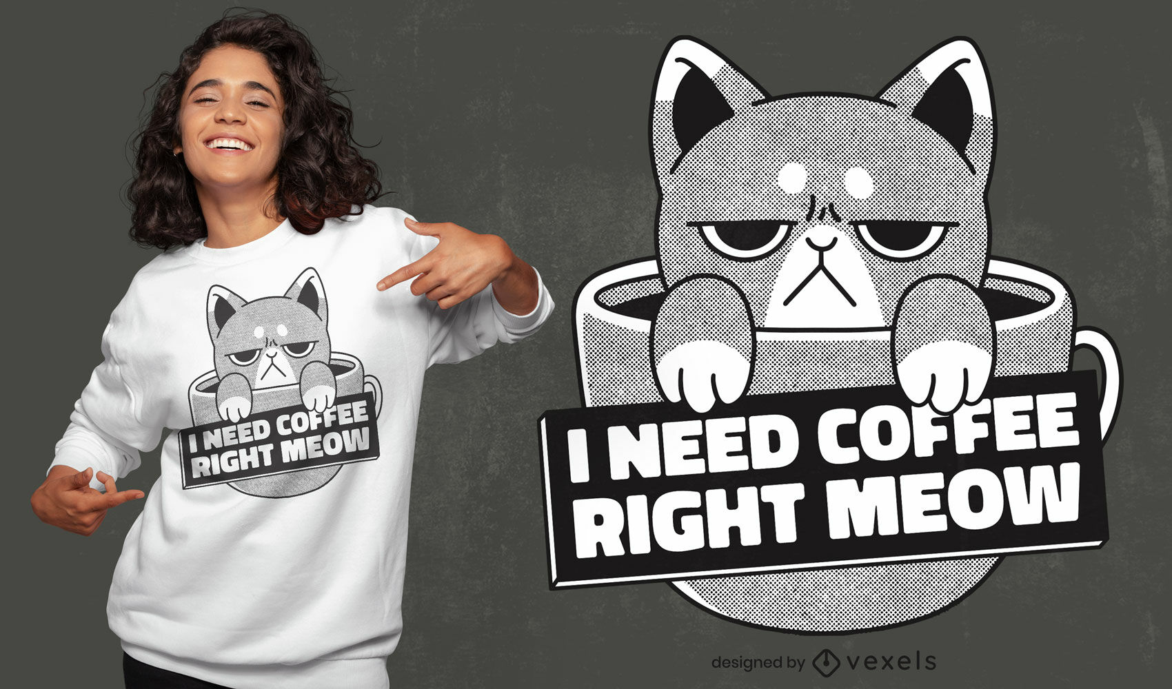 Angry cat coffee drink t-shirt design