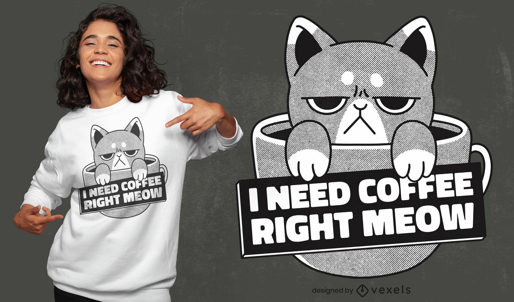 Design de t-shirt com bebida de café de gato zangado