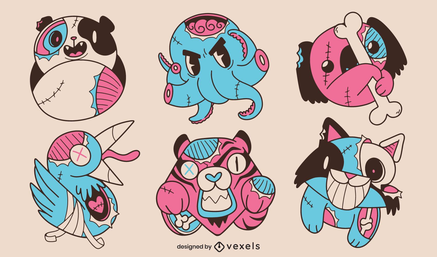 Conjunto de ilustrações legais de animais zumbis