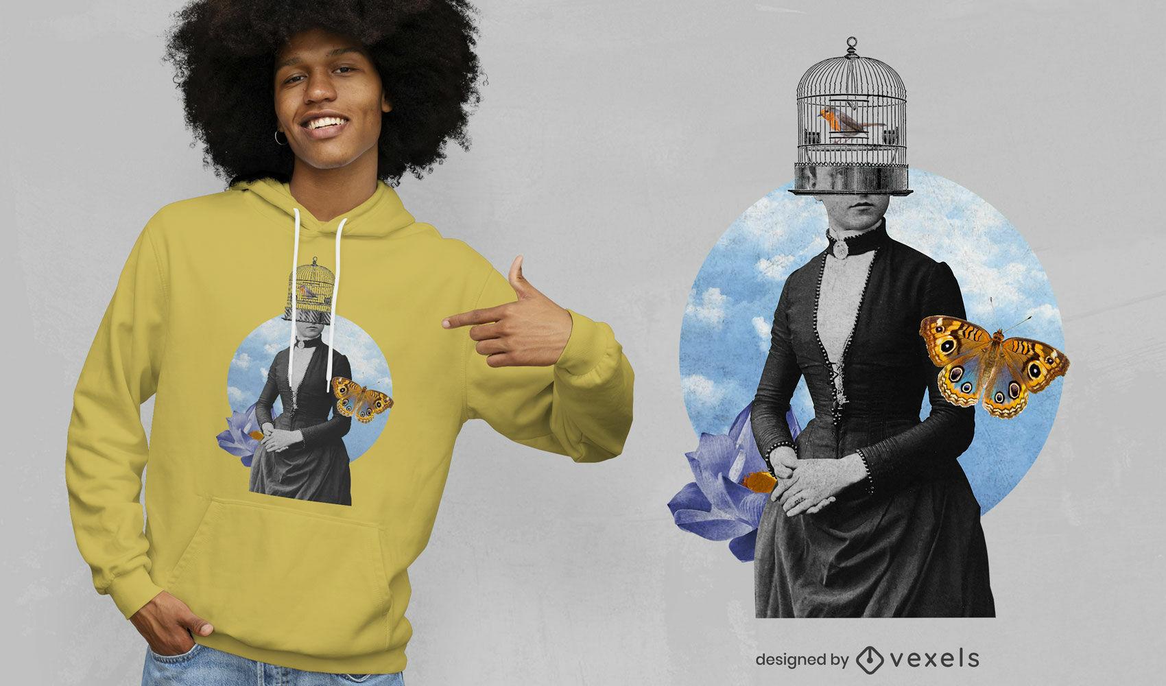 Lady bird cage coillage psd t-shirt design