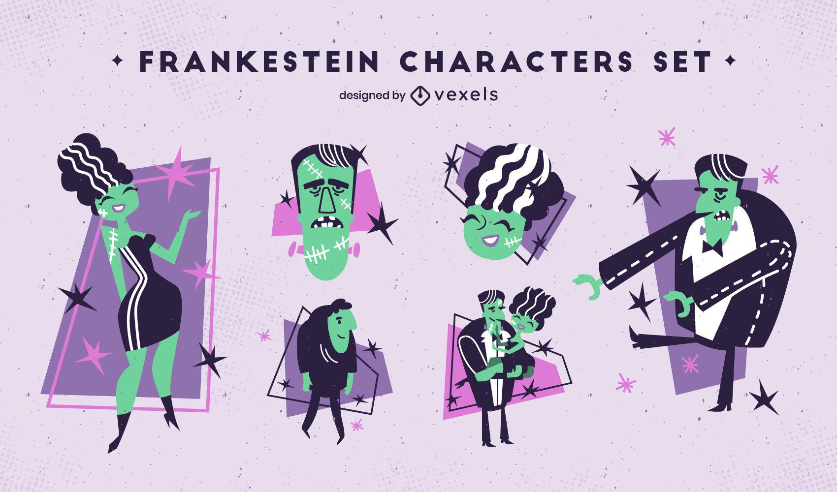 Conjunto de personajes planos de Frankenstein