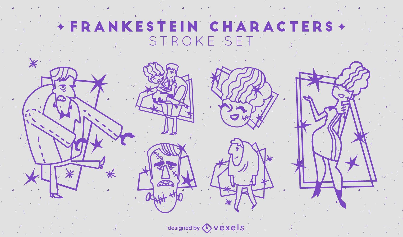 Conjunto de personagens de traços de Frankenstein