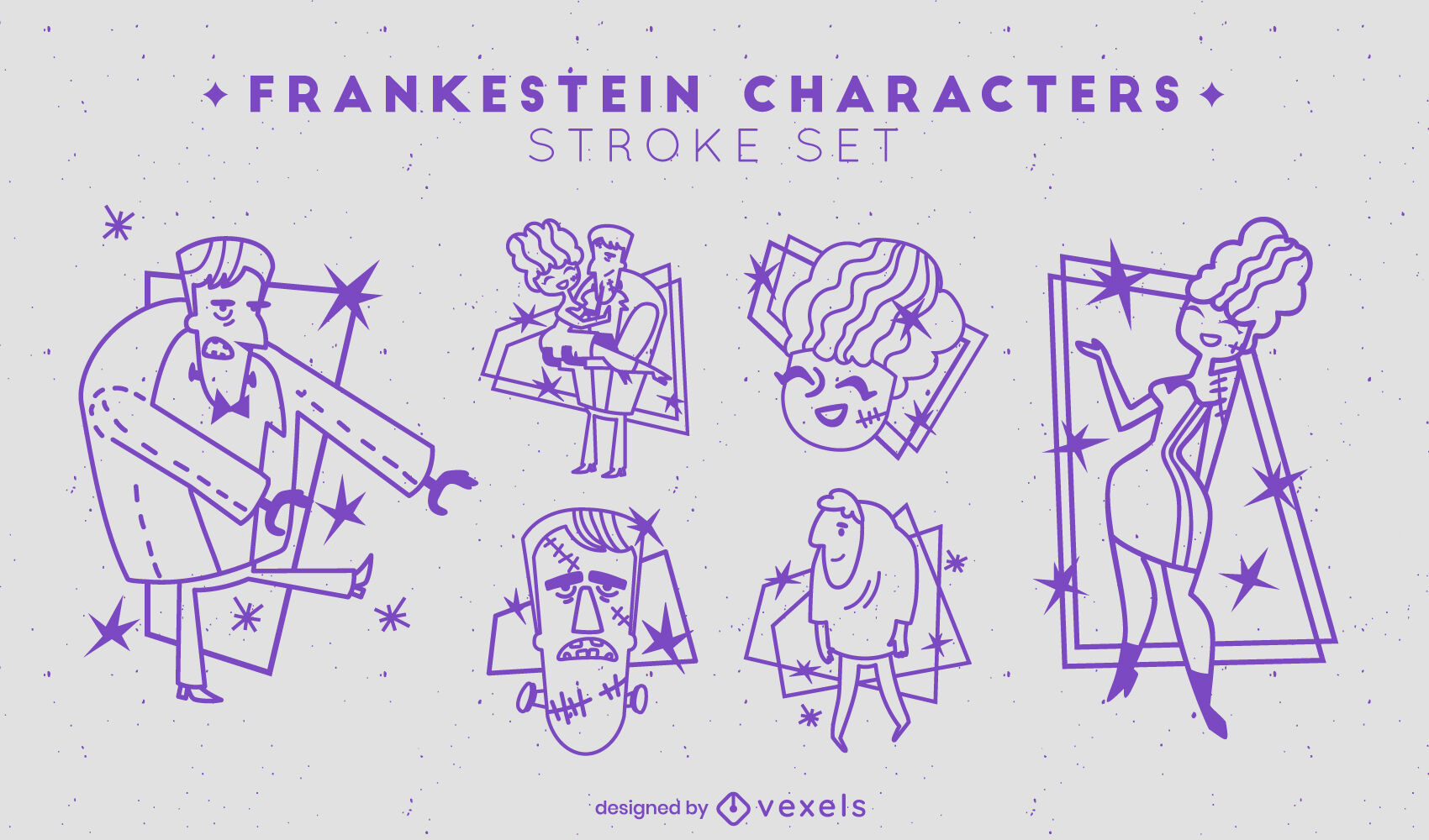 Frankenstein stroke characters set