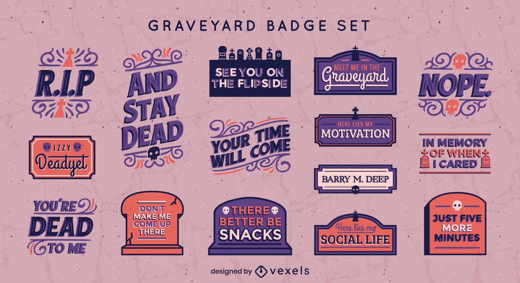 Halloween graveyard funny badge set