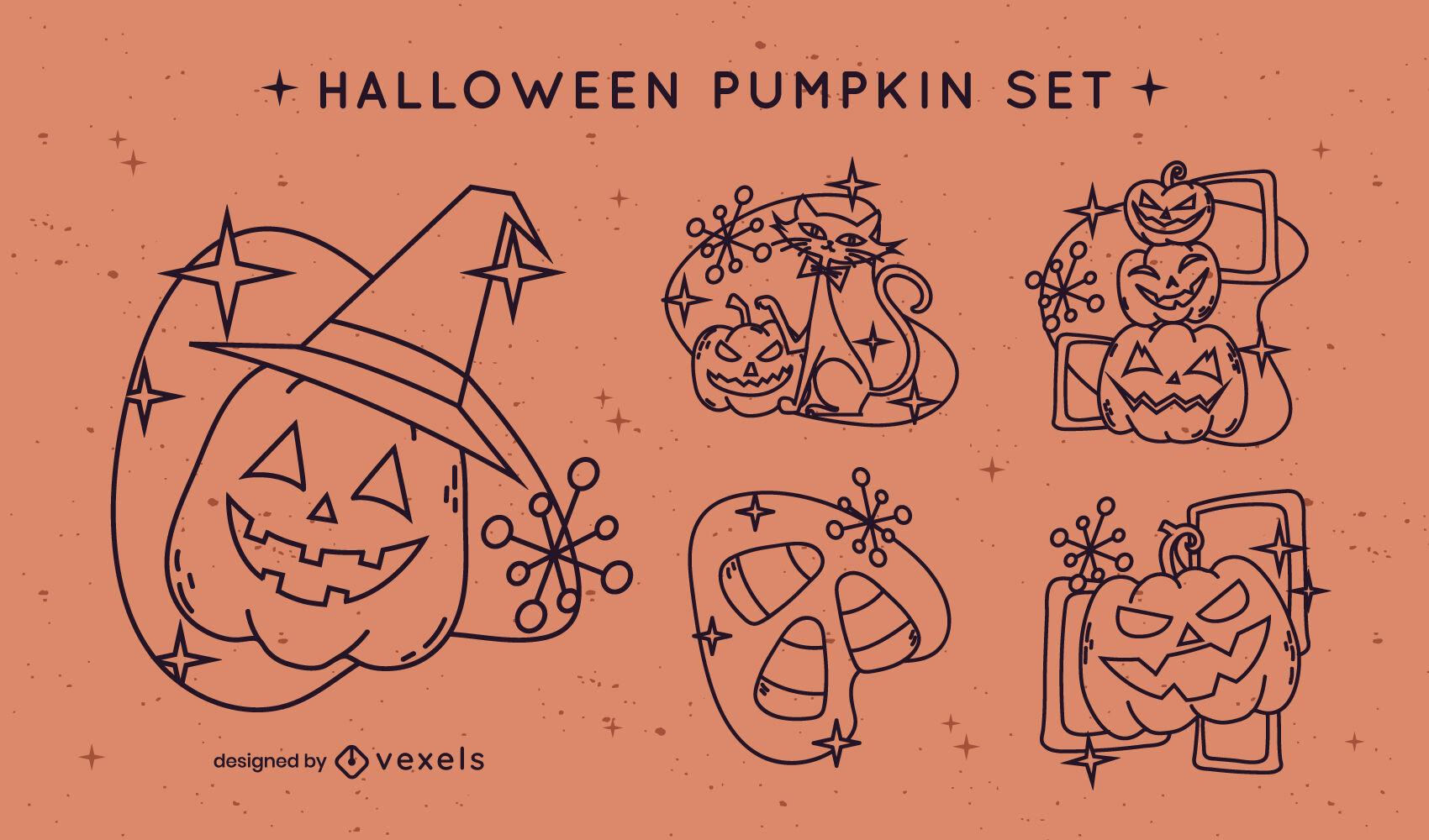 Halloween holiday pumpkins strok set