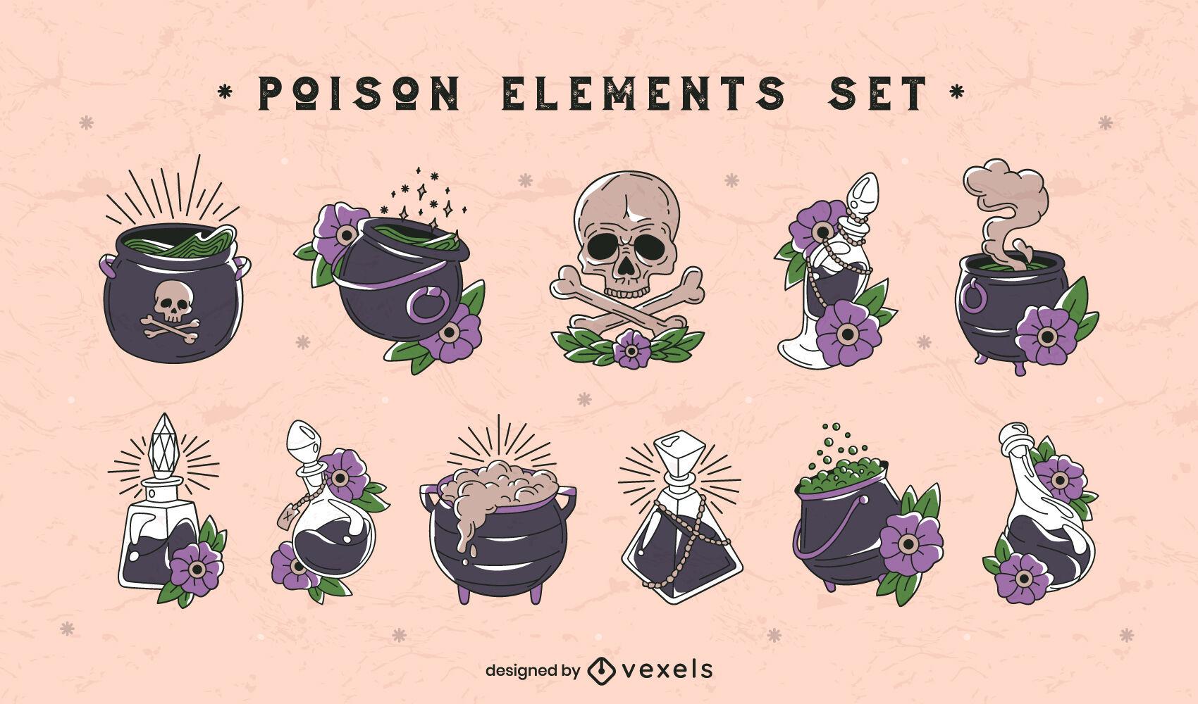 Conjunto de elementos de pociones de veneno y bruja.