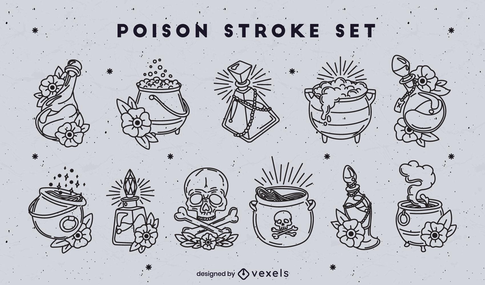 Conjunto de trazos de pociones de veneno y bruja.