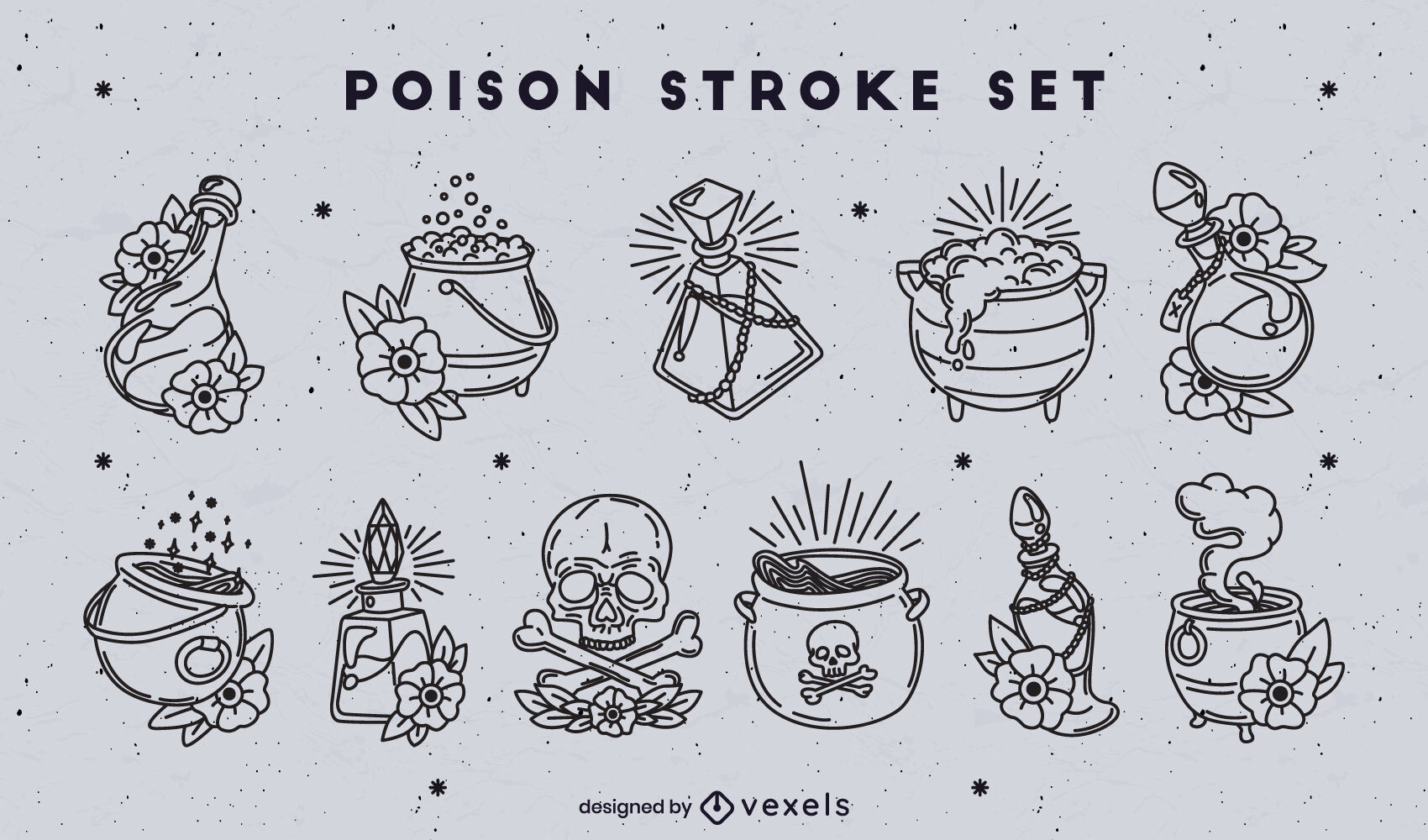 Poison and witch potions stroke set