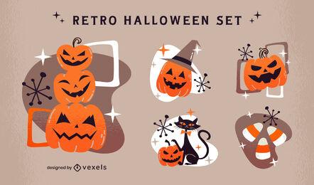 Halloween pumpkin elements retro set